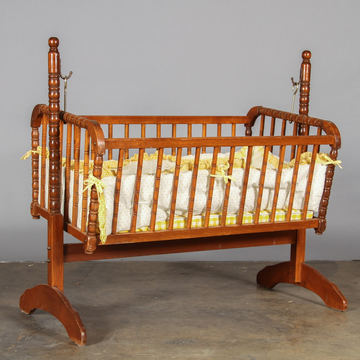 Vintage Maple Finished Baby Cradle On Stand