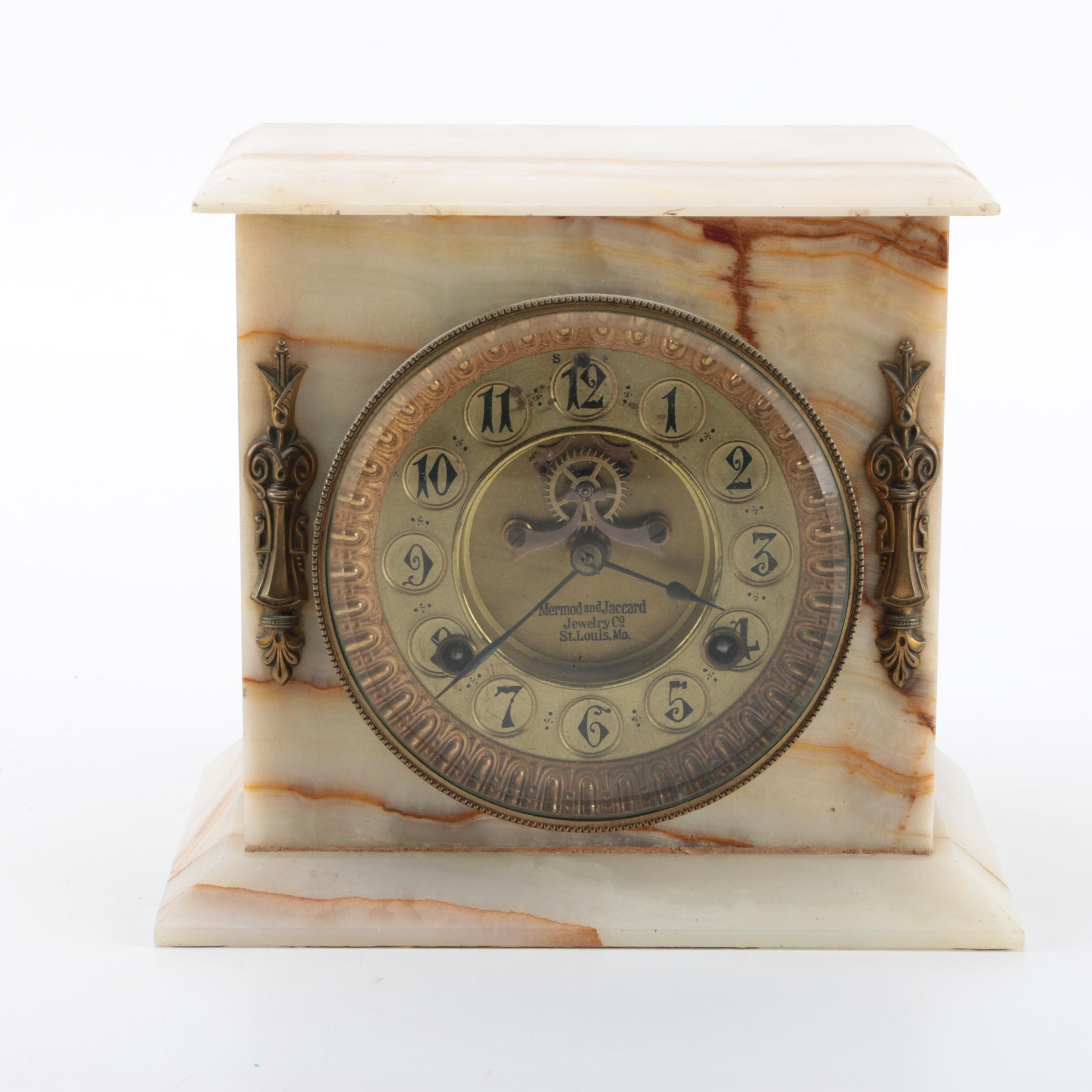 Antique Mermod and Jaccard Alabaster Mantel Clock