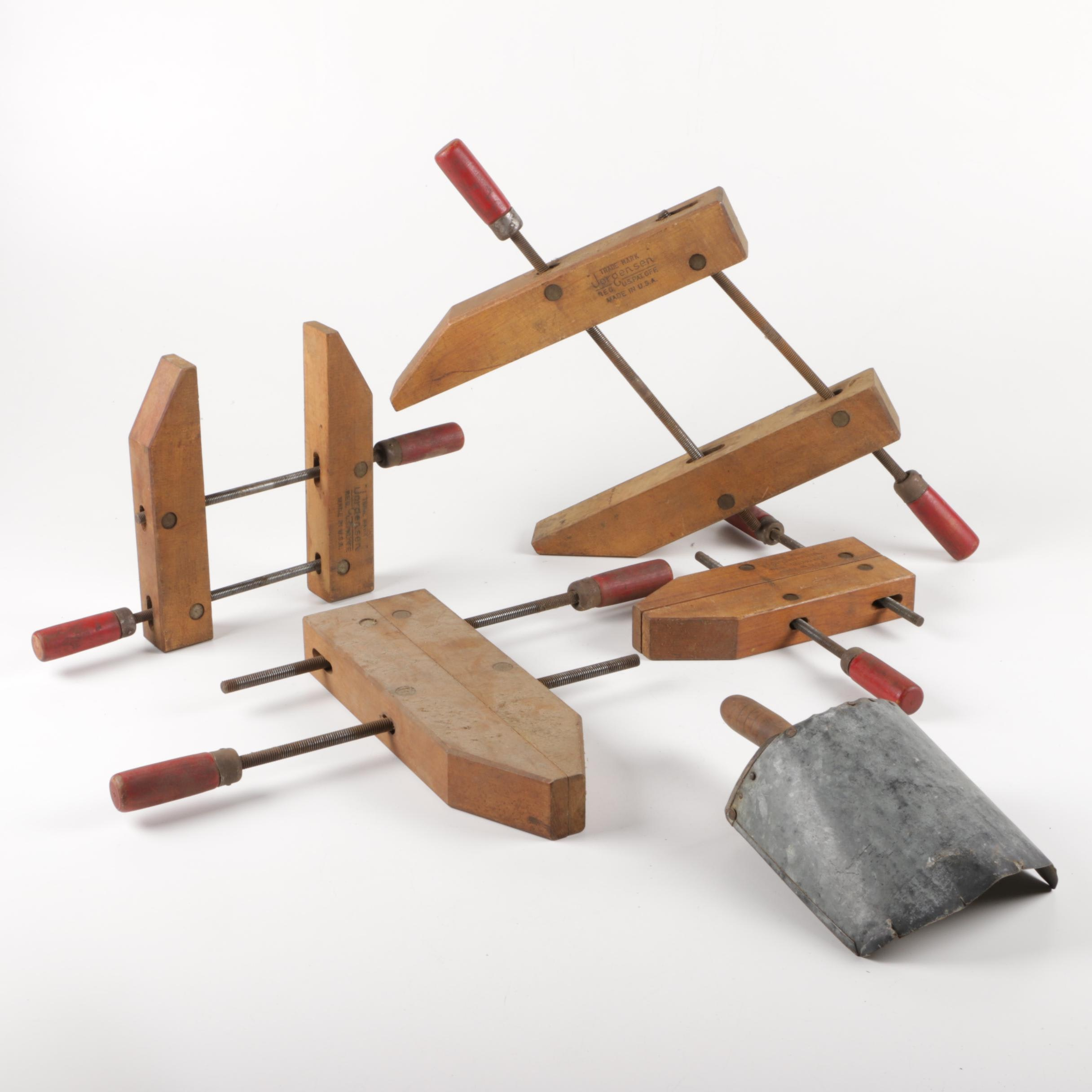 Four Jorgensen Clamps with Hand Shovel