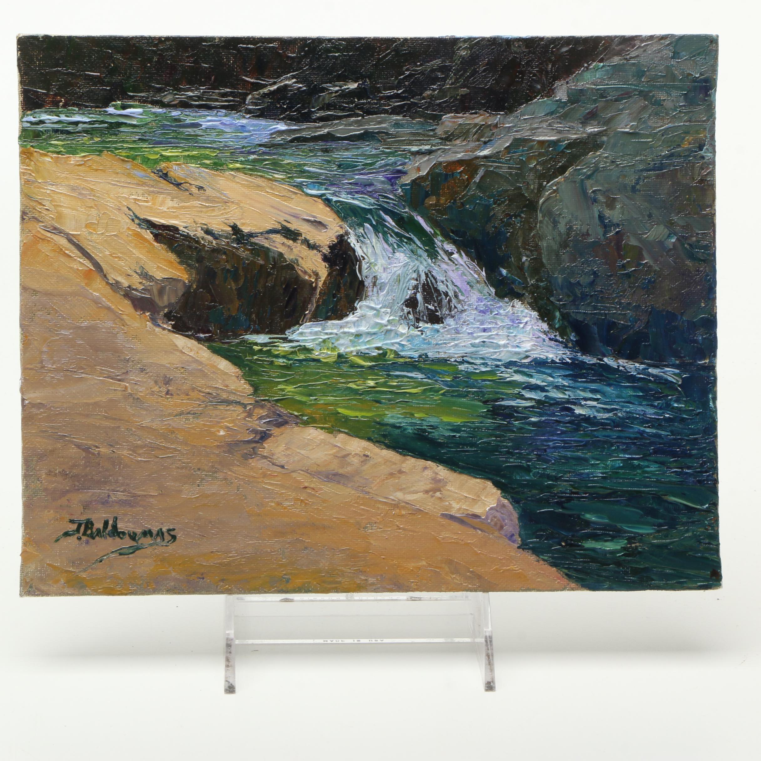 James Baldoumas Oil on Canvas Board Painting 'Lower Falls'