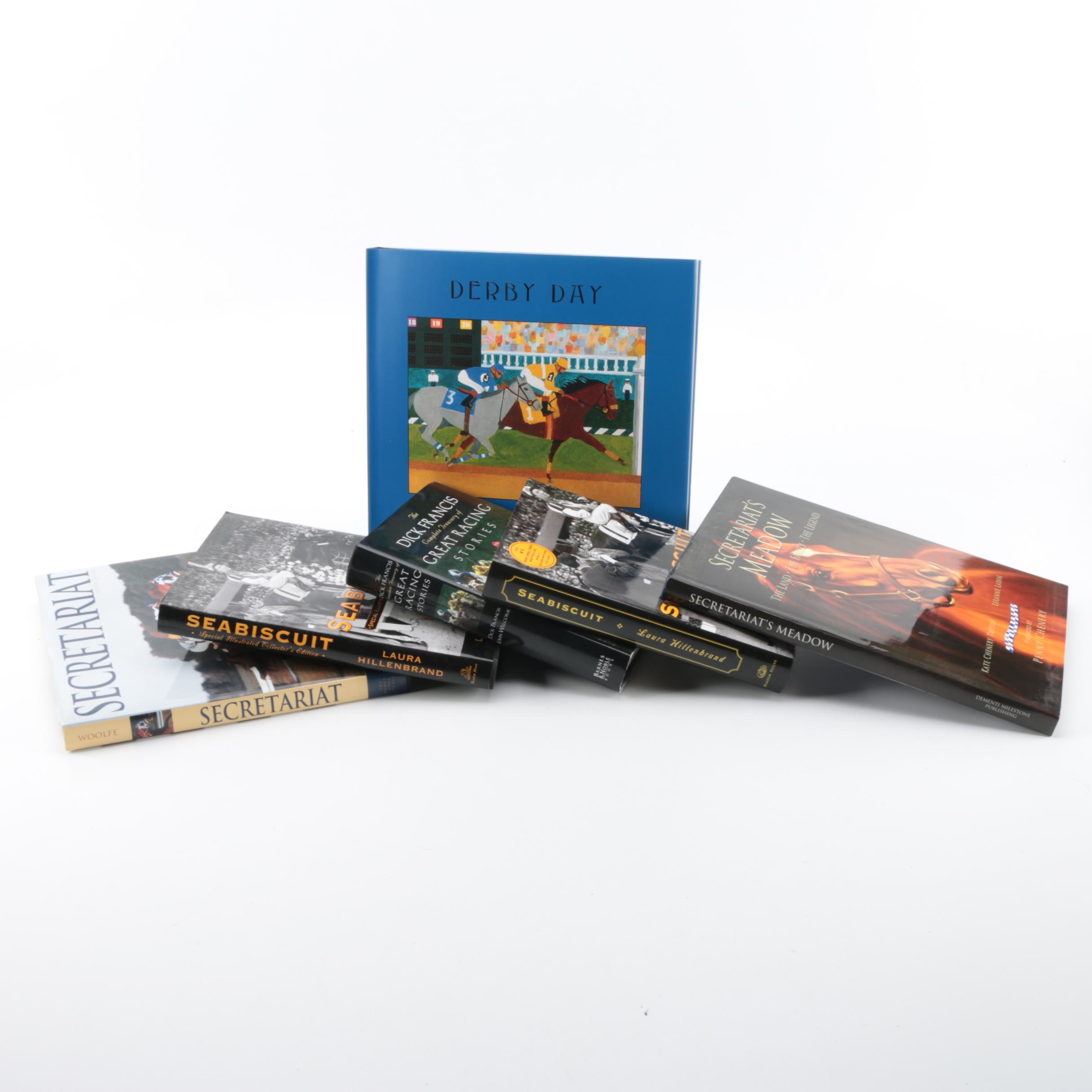 Assorted Hardcover Books on Horse Racing