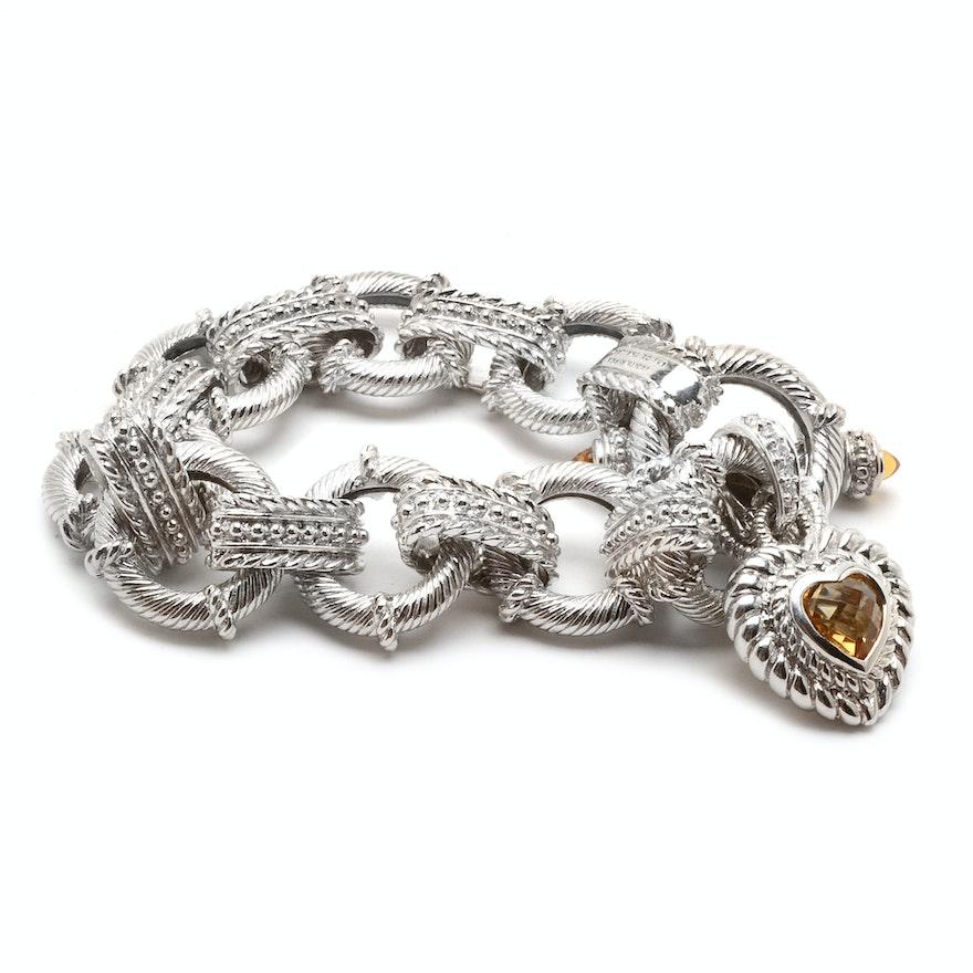 7e344d8af15ab Judith Ripka Sterling Silver Citrine Linked Bracelet