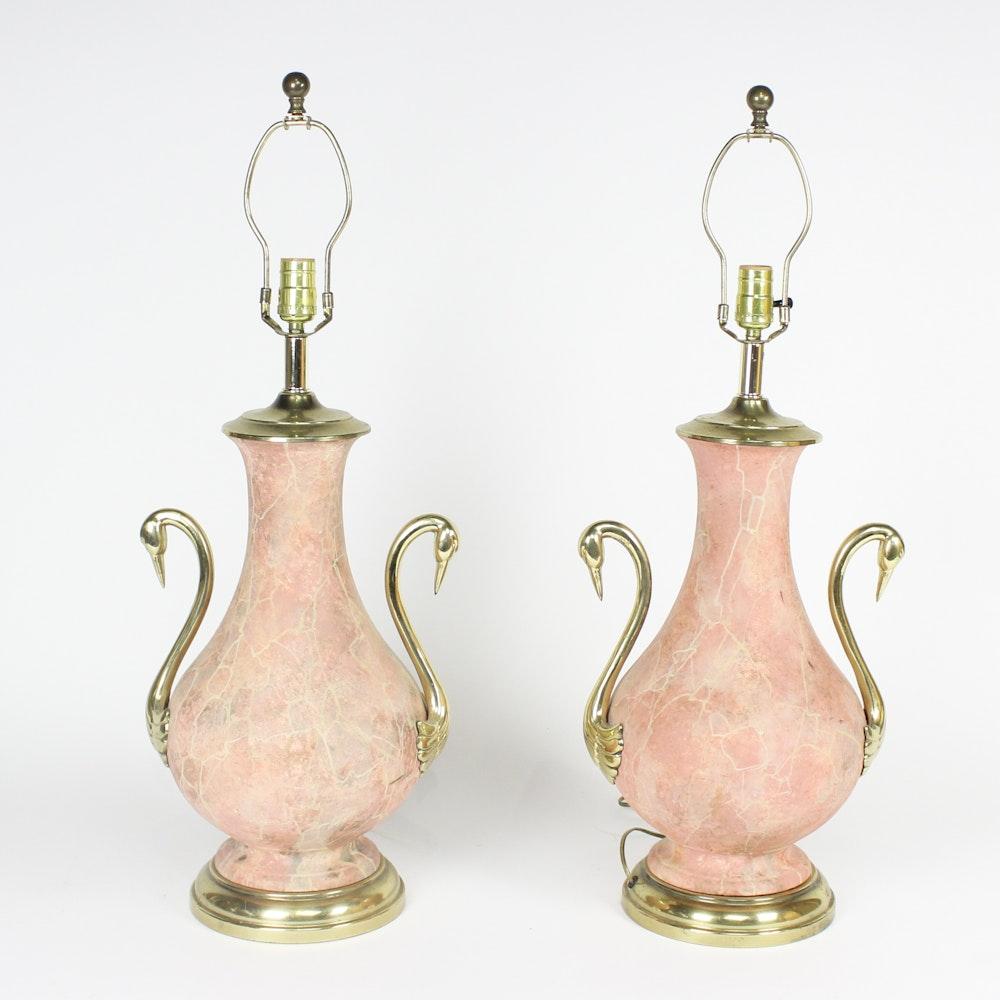 Vintage Ceramic Swan Table Lamps