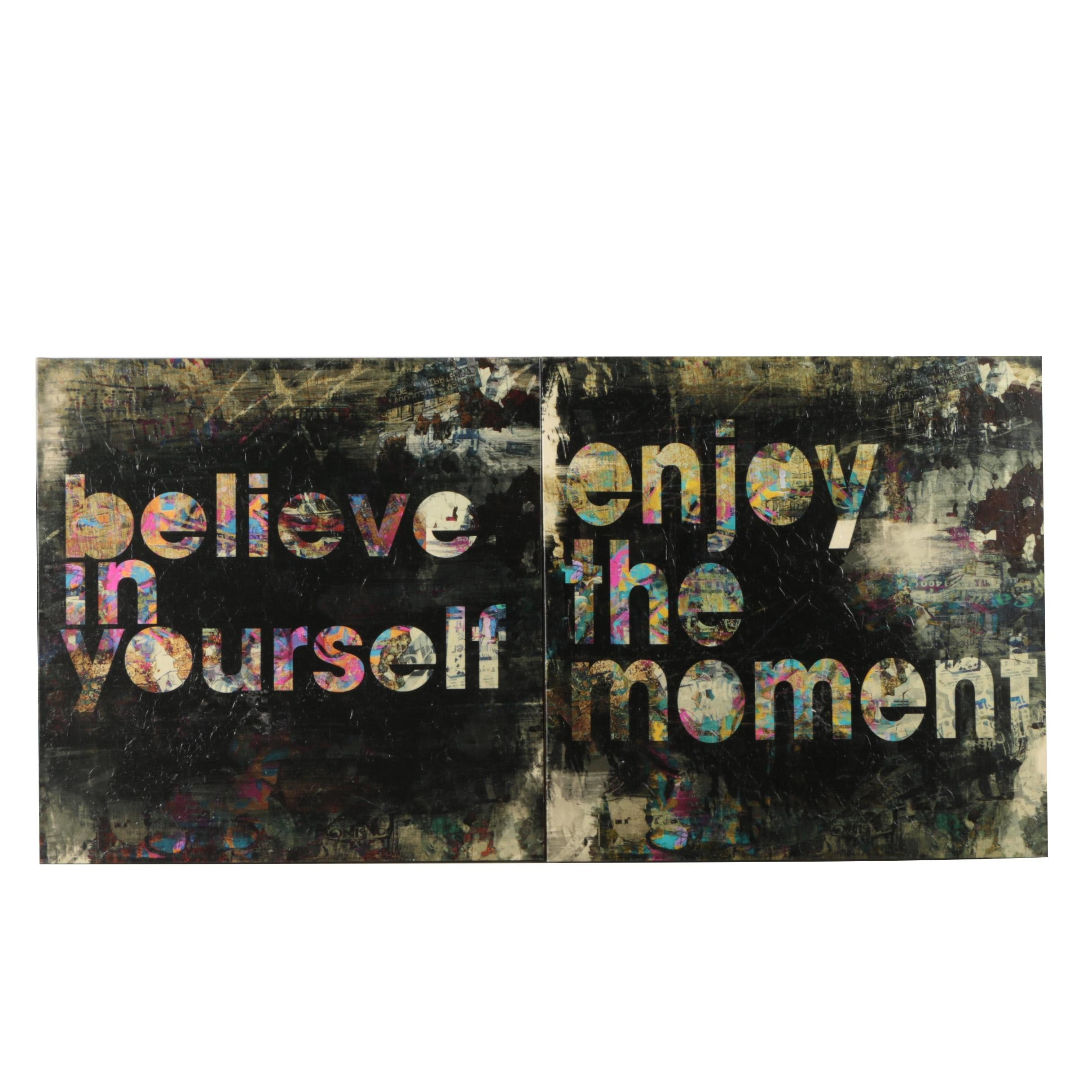 Embellished Giclees on Canvas After Austin Beiv of Inspirational Typography