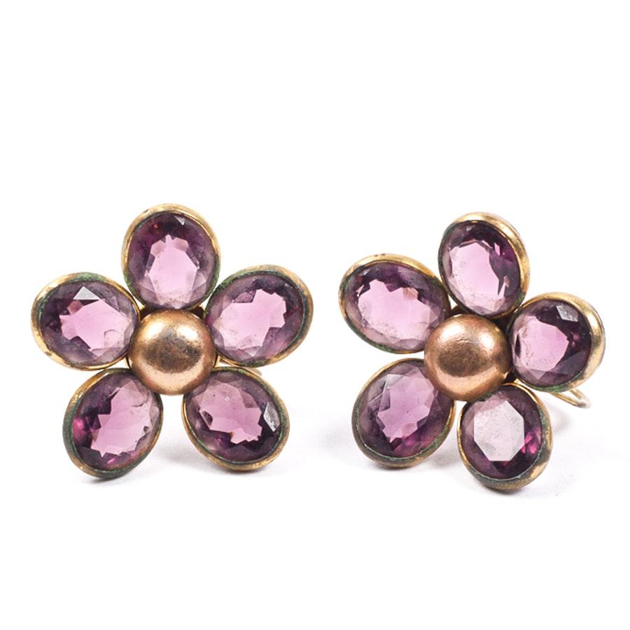 Costume Gold Tone Earrings with Purple Glass Flower Motifs