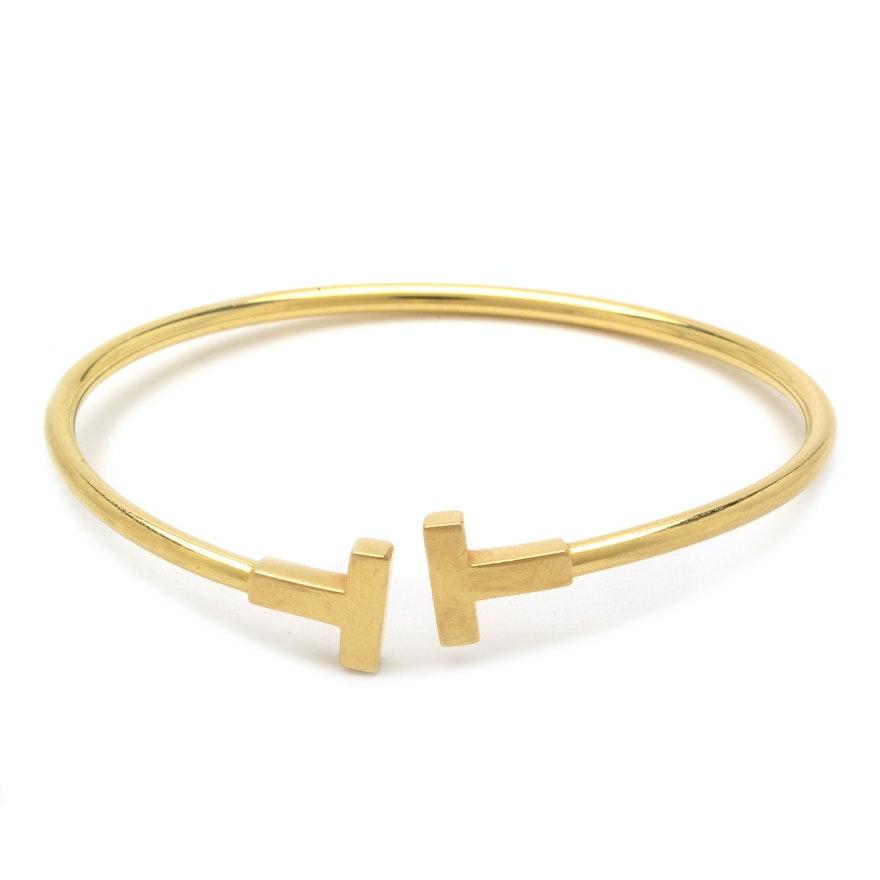 eeb782bef Tiffany & Co 18K Yellow Gold Tiffany T Narrow Wire Bracelet : EBTH