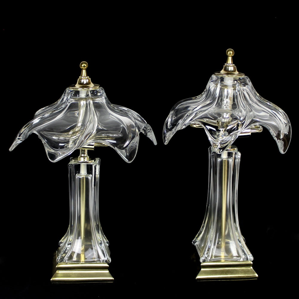 Vintage Parisian Cofrac French Art Verrier Crystal Lamps