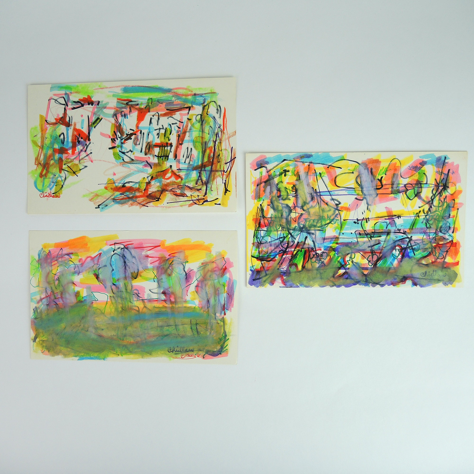 Paul Chidlaw Abstract Expressionism Mixed Media Drawings on Paper