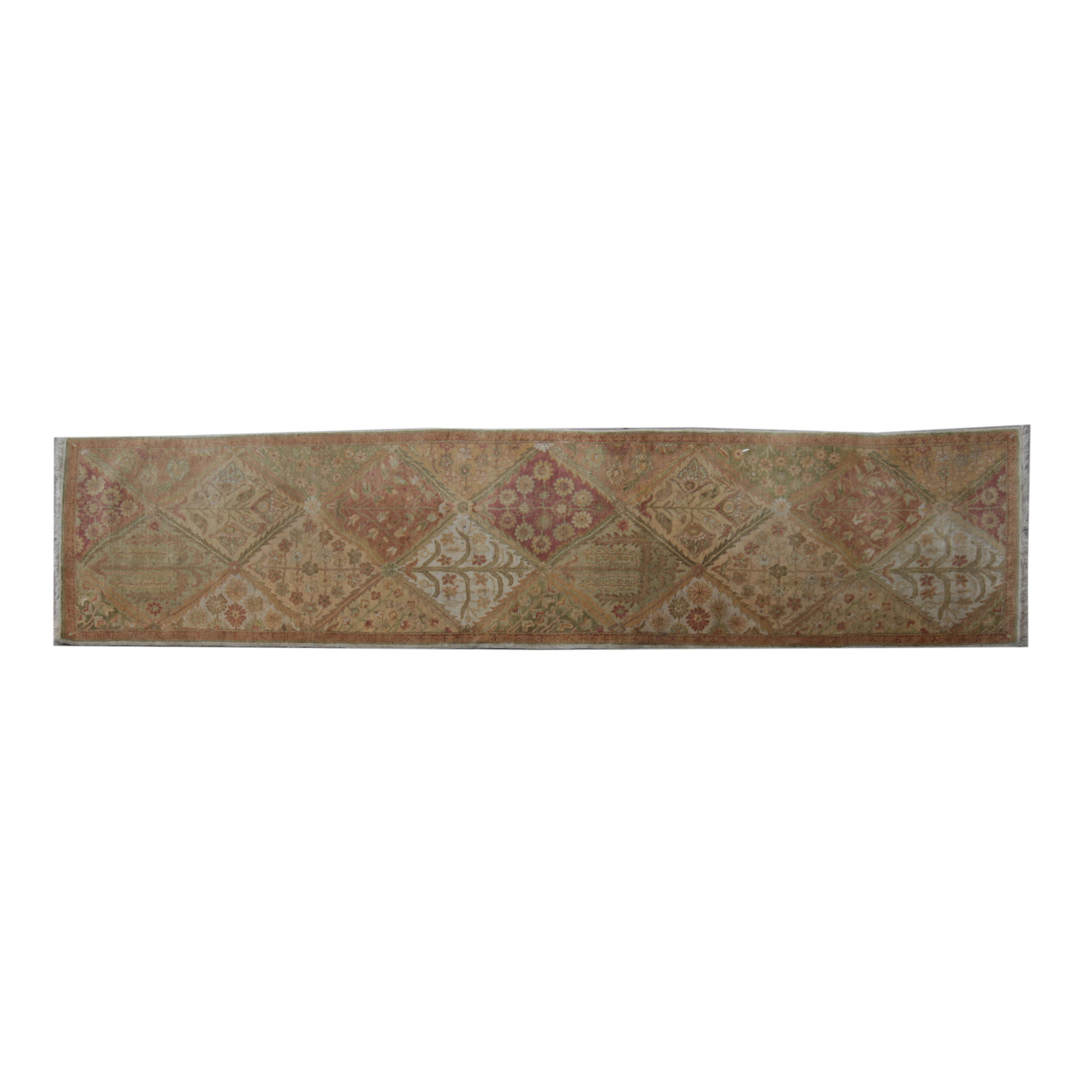 Hand-Knotted Bakhtiari Garden Panel Wool Carpet Runner