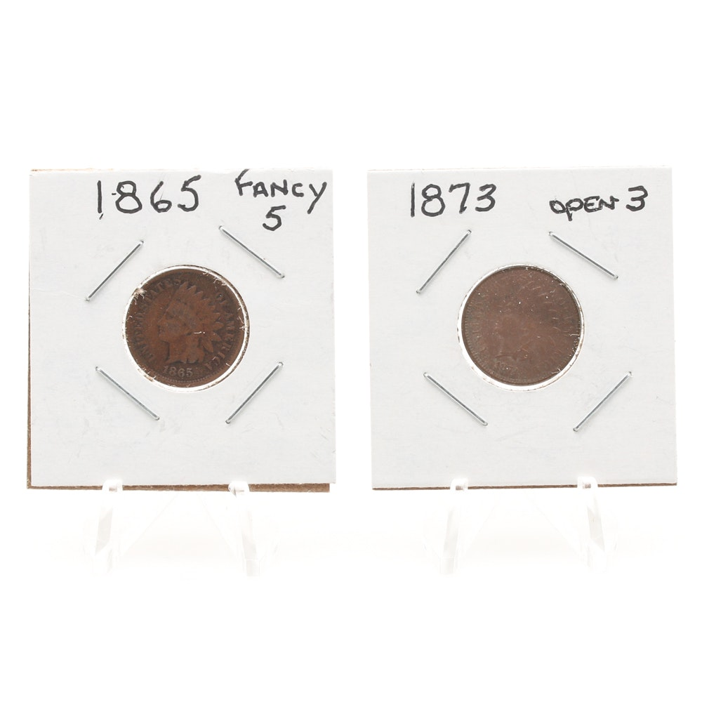 1873 'Open Three' and 1865 'Fancy Five' Indian Head Cents