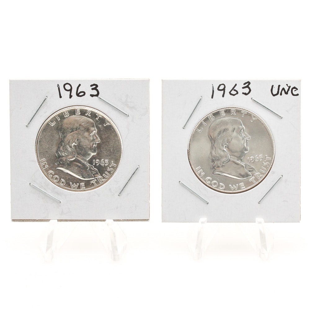 Pair of 1963 Benjamin Franklin Half-Dollars