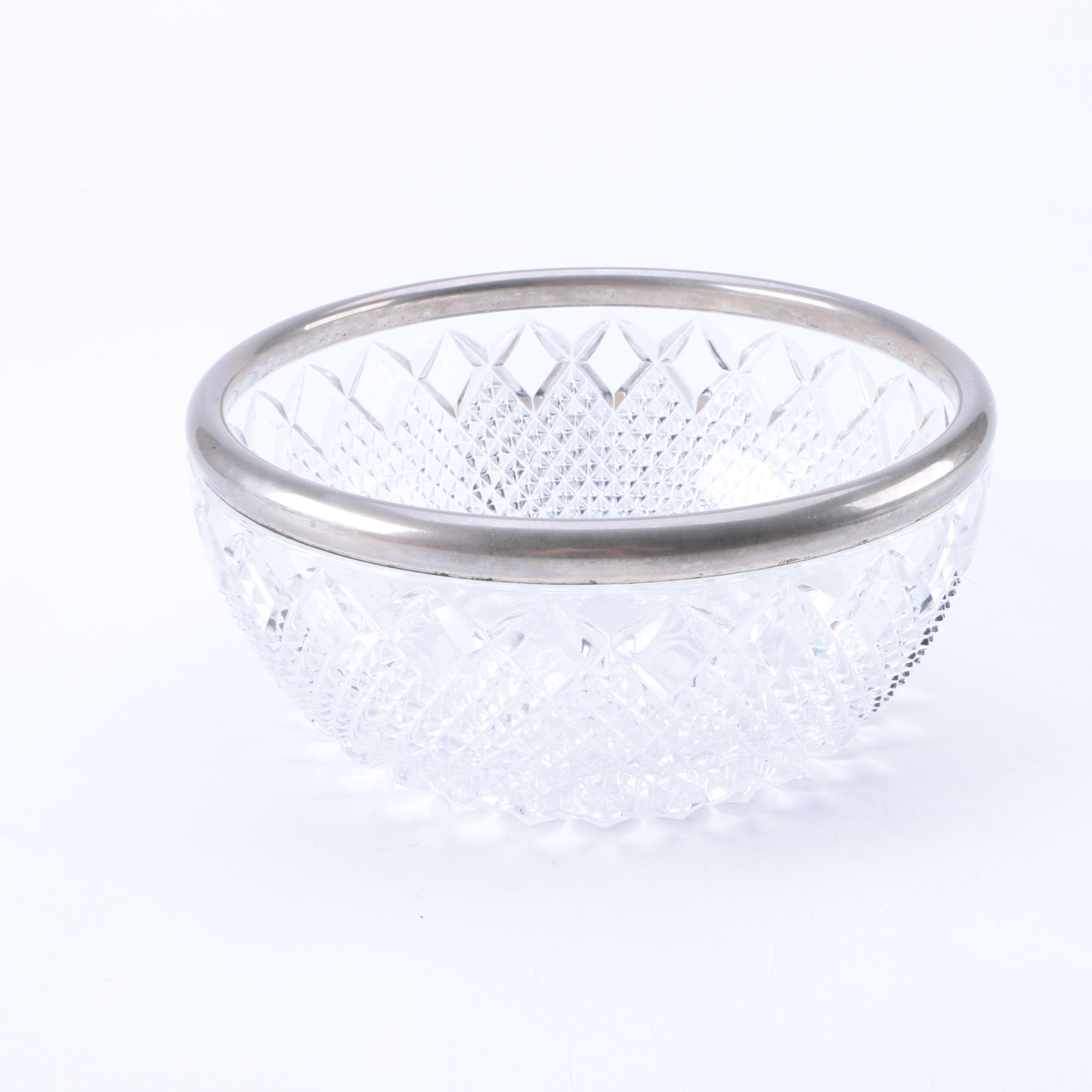 Crystal Bowl with Silver Tone Rim