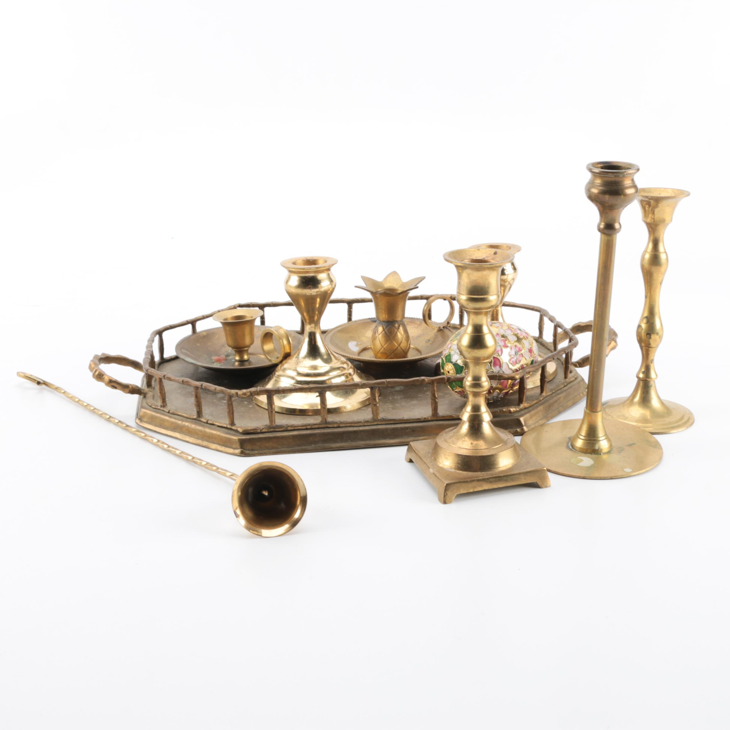 Brass Candleholders with Other Home Decor