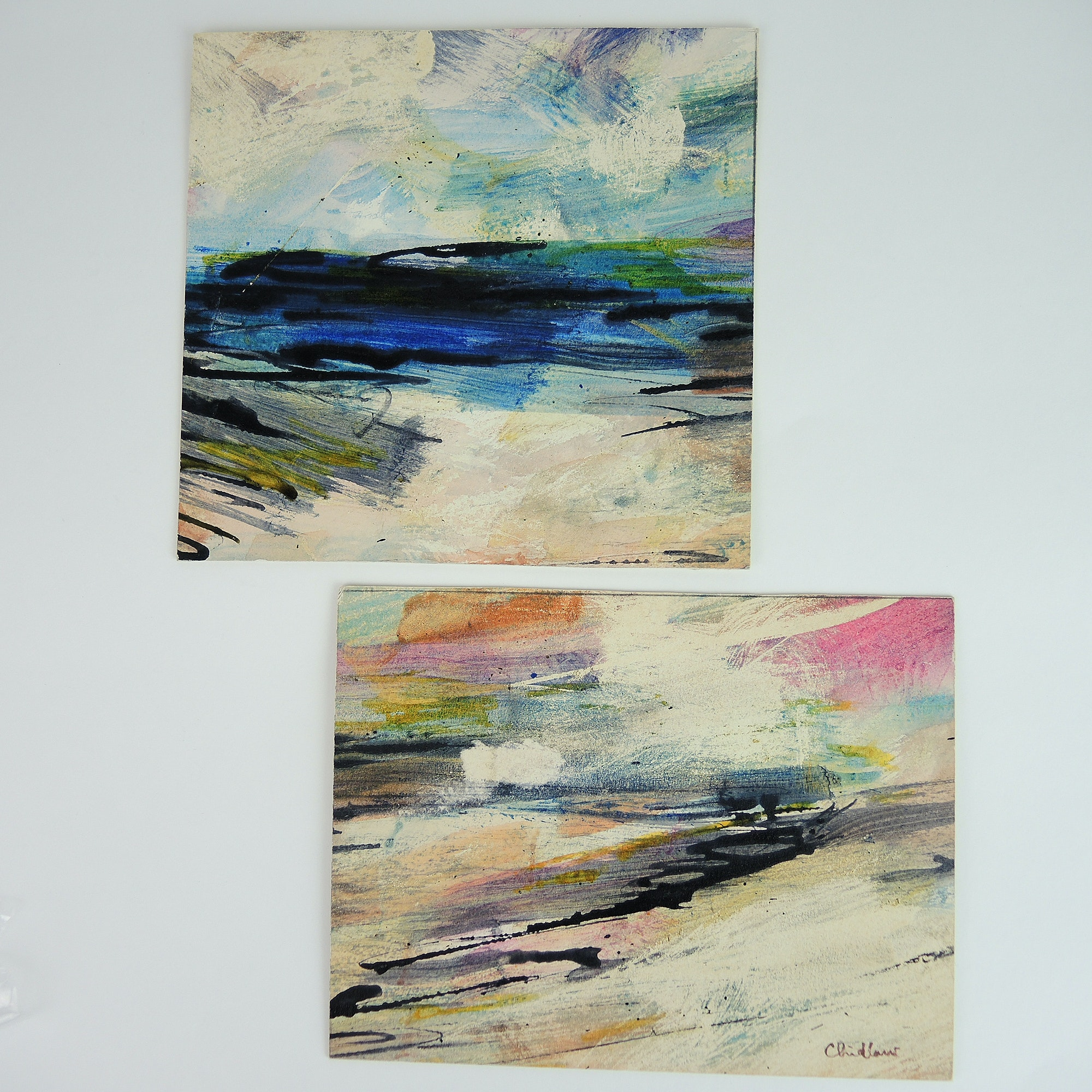 Paul Chidlaw Mixed Media Paintings on Paperboard Pair of Seascapes