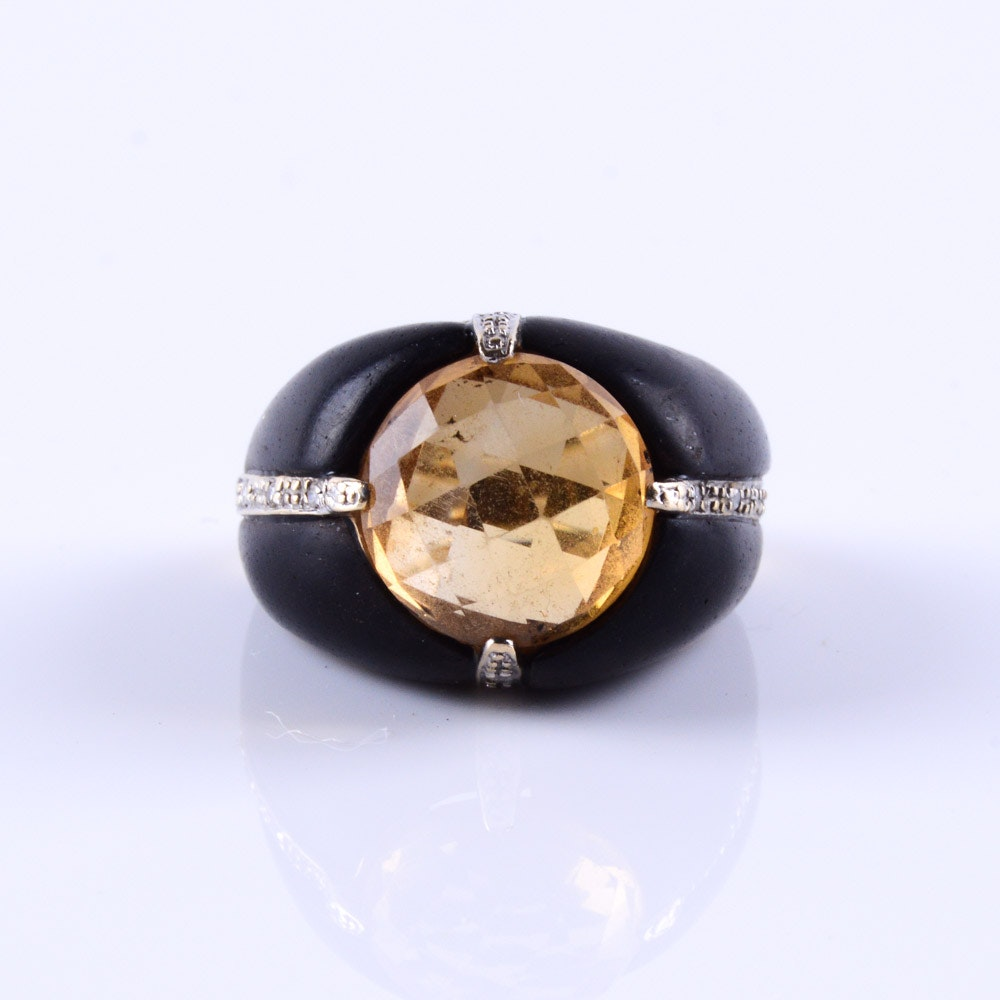 14K Gold Statement Ring with Citrine and Diamonds