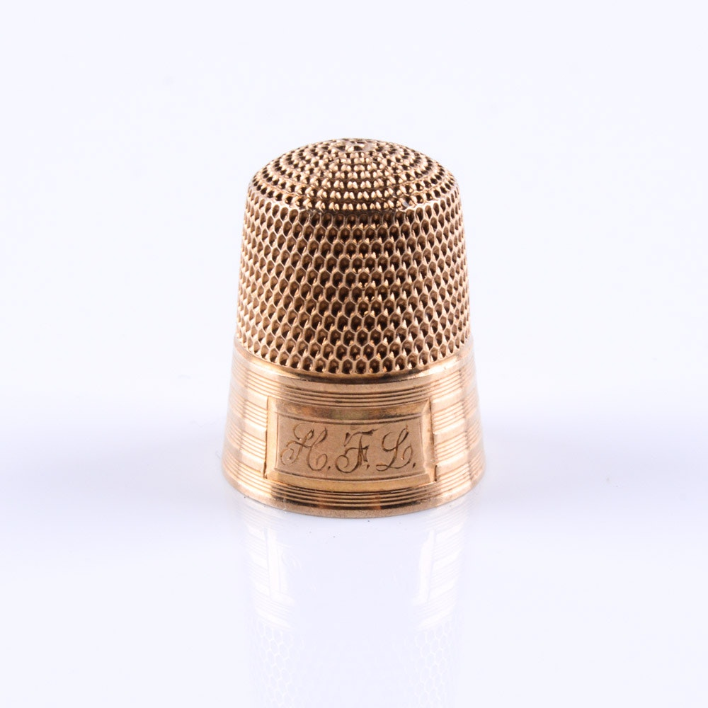 14K Gold Simons Brothers Thimble