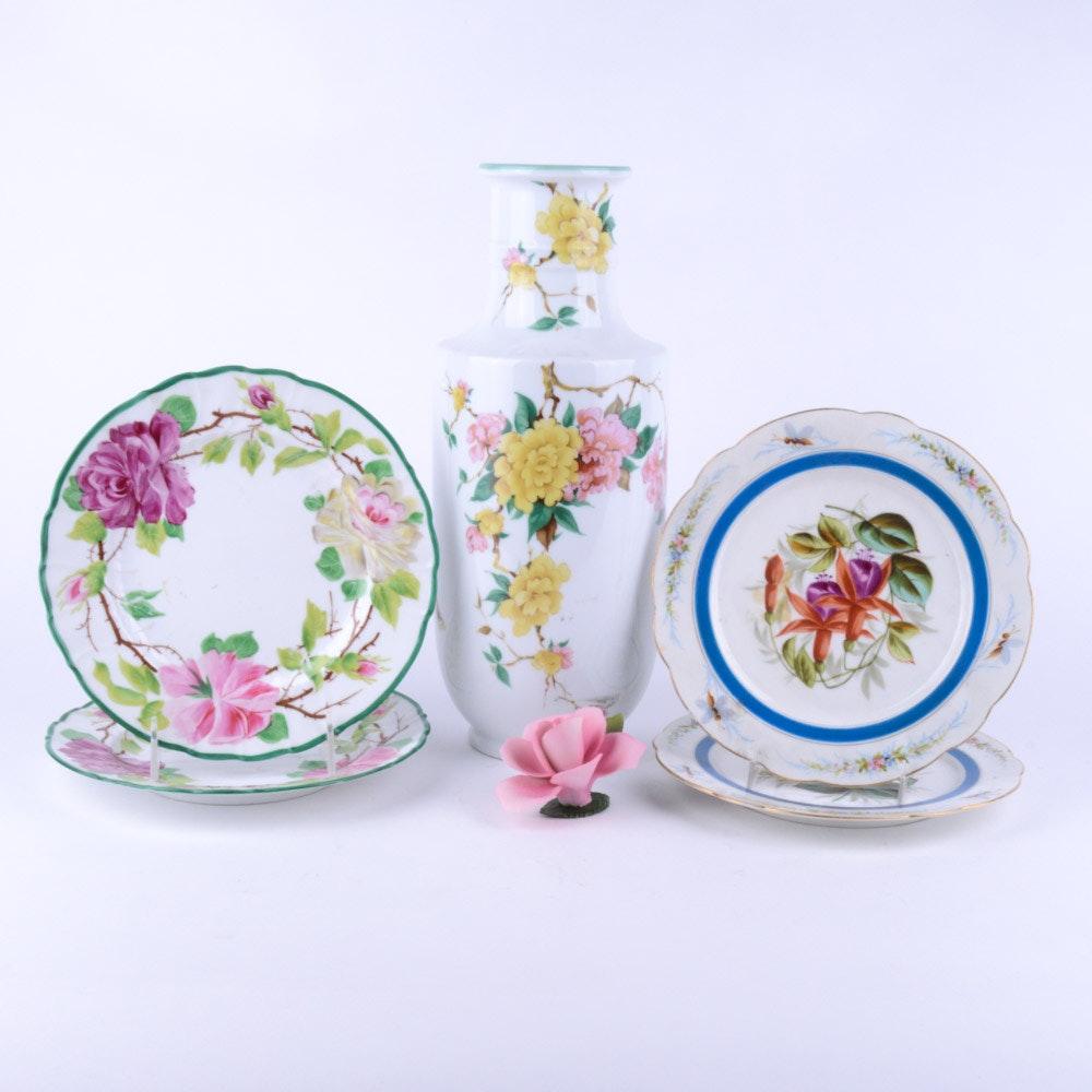 Vintage Floral Painted Porcelain Assortment