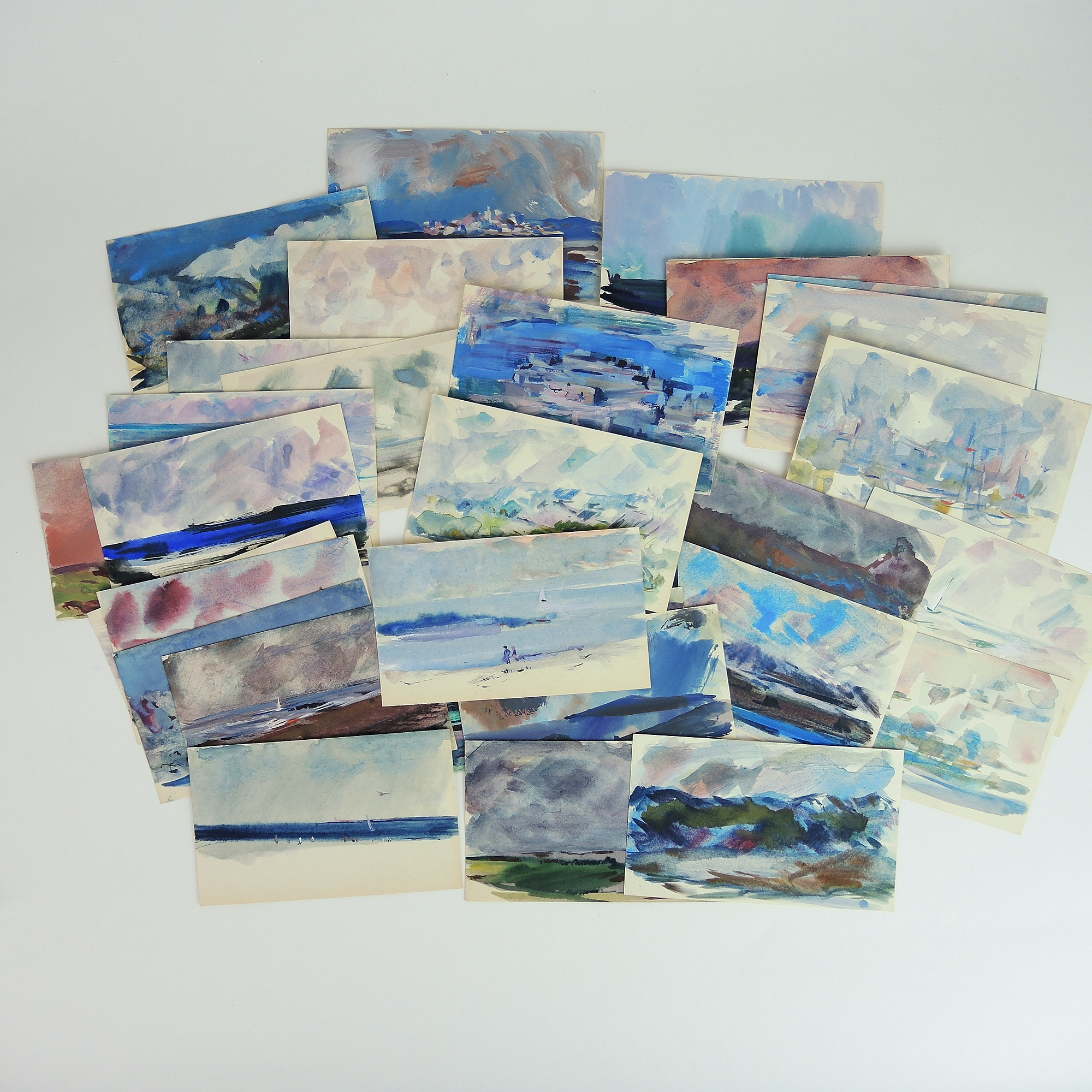 Paul Chidlaw A Collection of Intimate Mixed Media Paintings on Cards