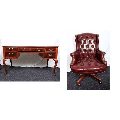 Chippendale Style Writing Desk with Leather Executive Chair