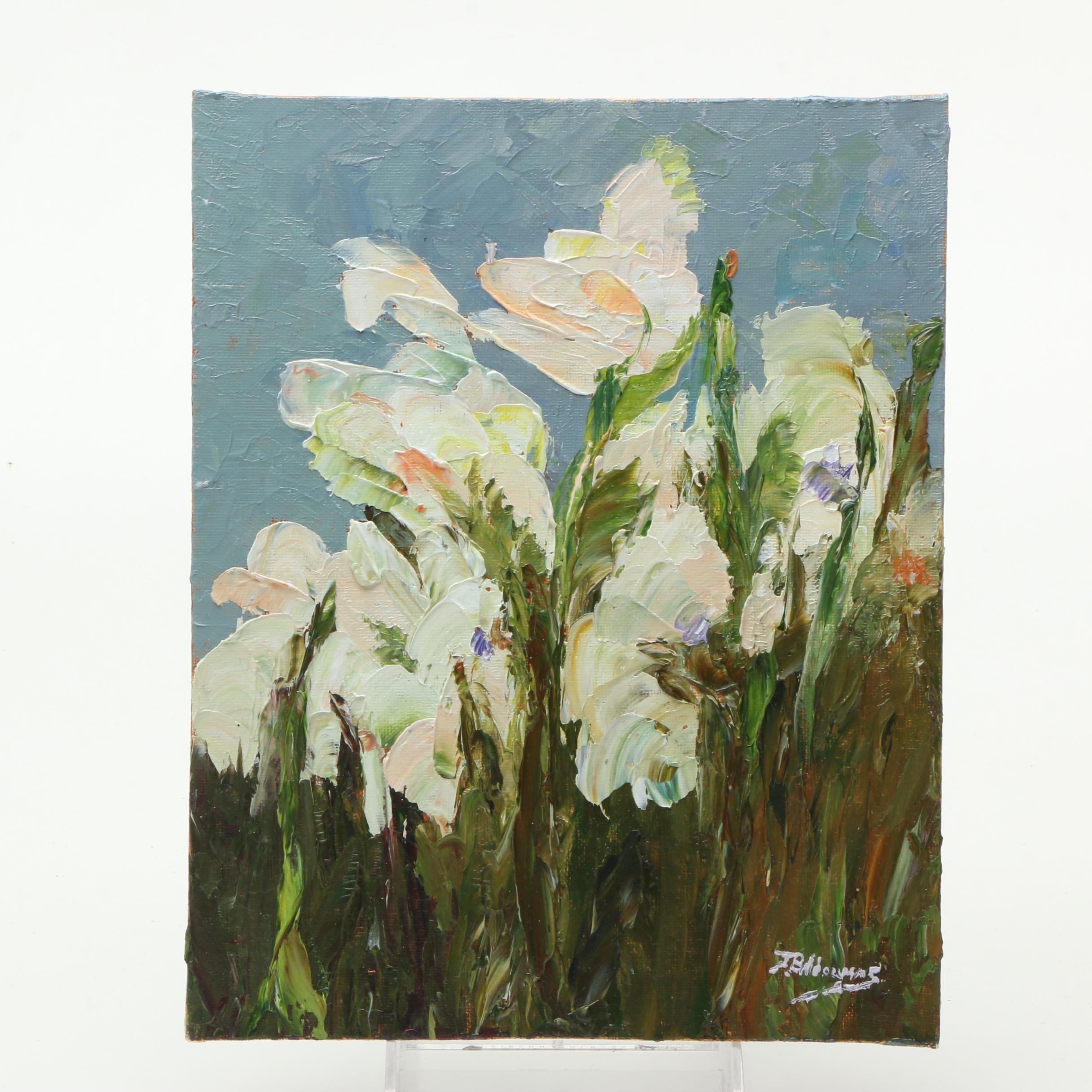 "James Baldoumas 2017 Oil Painting on Canvas Board ""Irises"""