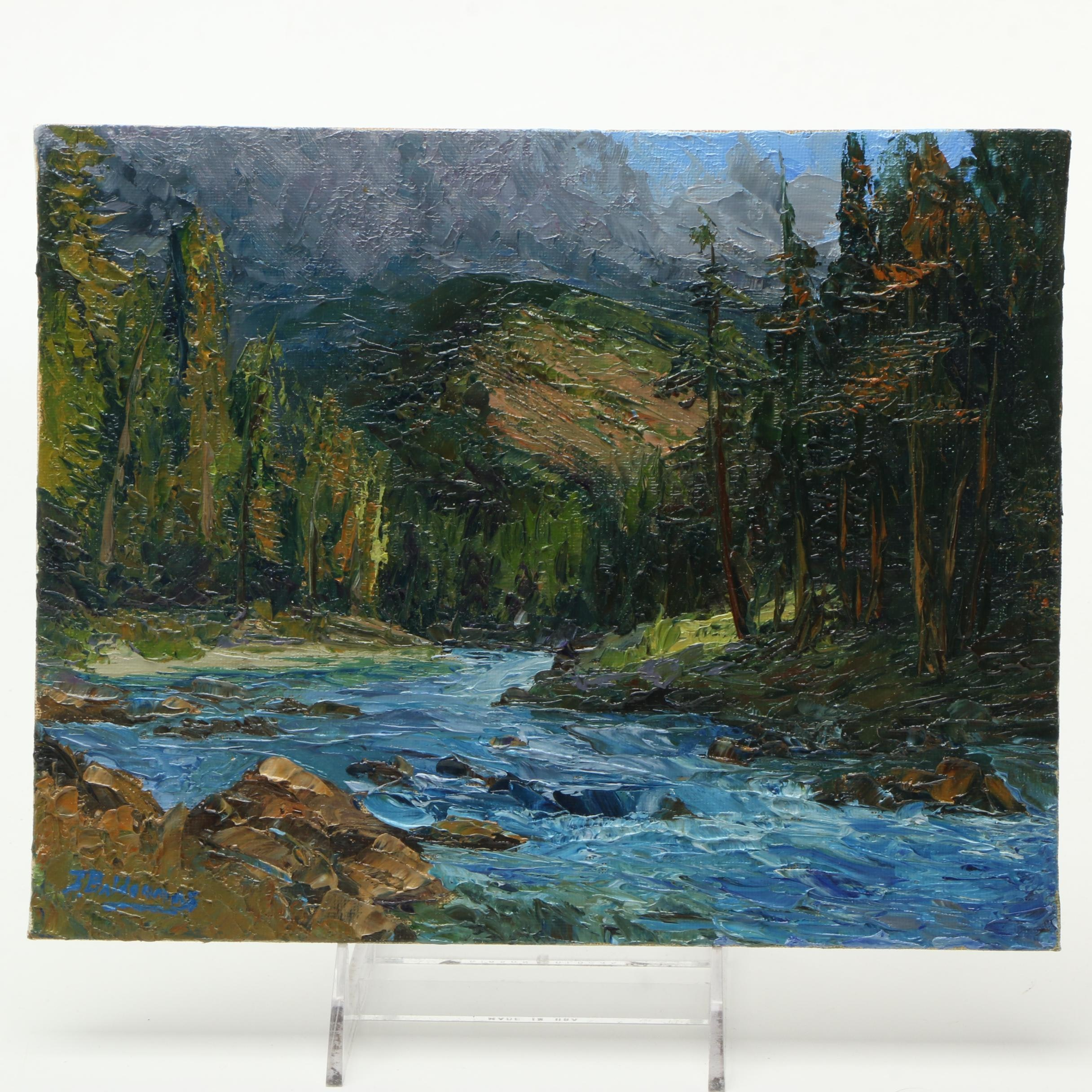 "James Baldoumas 2017 Landscape Oil Painting on Canvas Board ""The Pemi"""