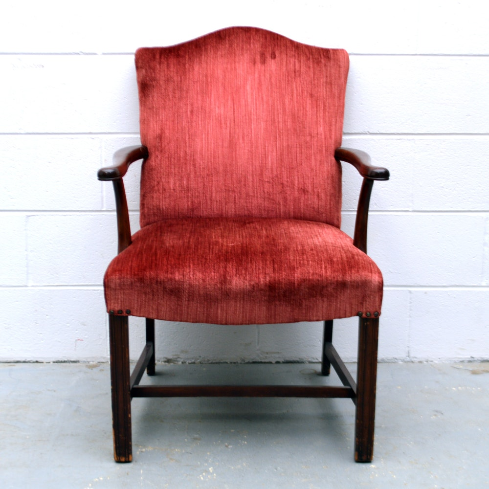 Vintage Chippendale Style Upholstered Arm Chair