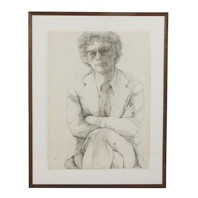 Barbara Swan Ink and Wash on Paper Portrait of Kenworth Moffett