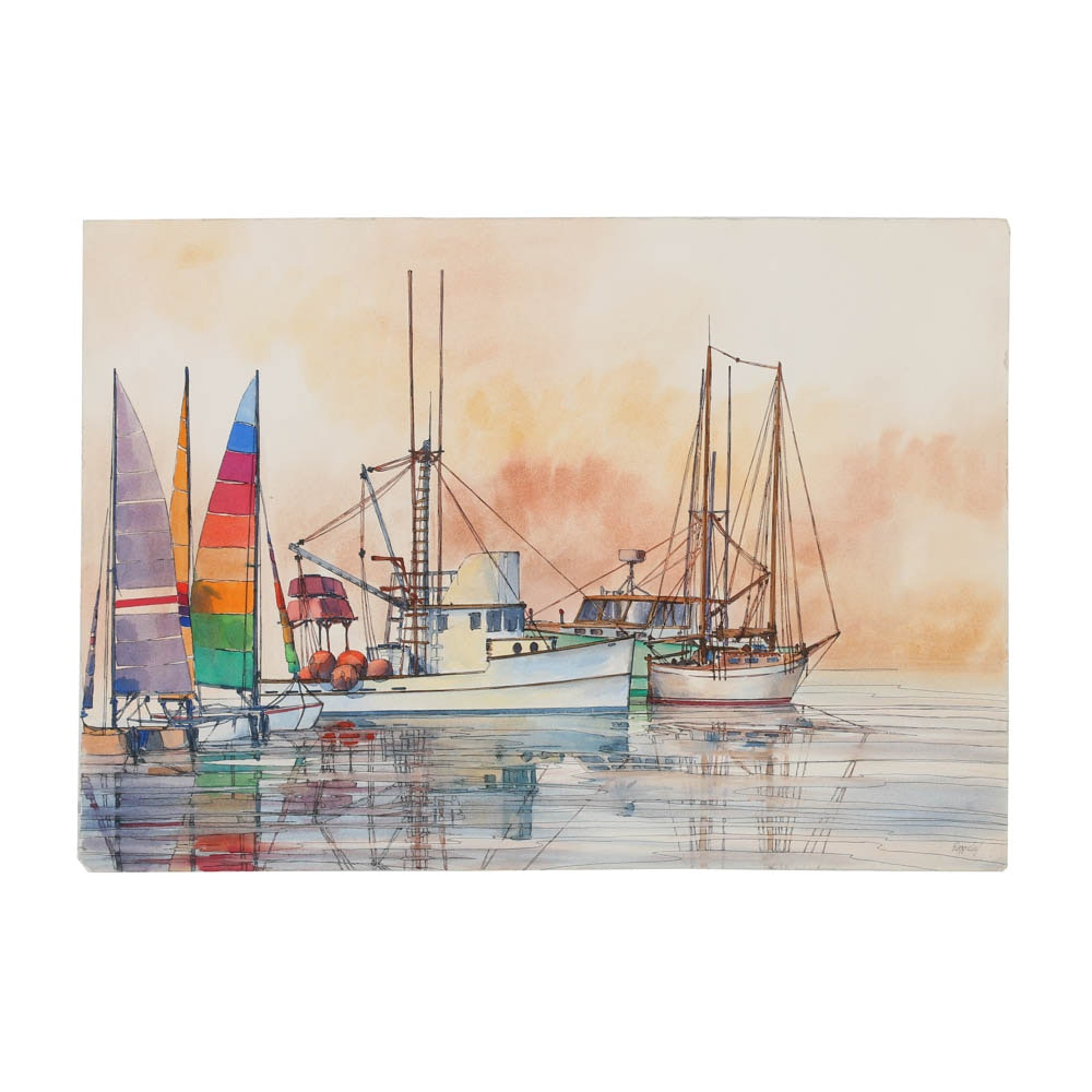Richard Baggaley Mixed Media on Paper of Boats on the Water