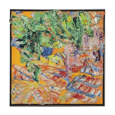 "Roy Lerner Acrylic Painting on Canvas ""Churches"""