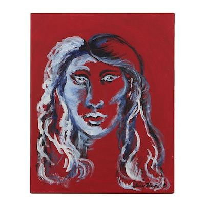 "Lucy Baker Oil Painting on Canvas ""Auto Portrait"""