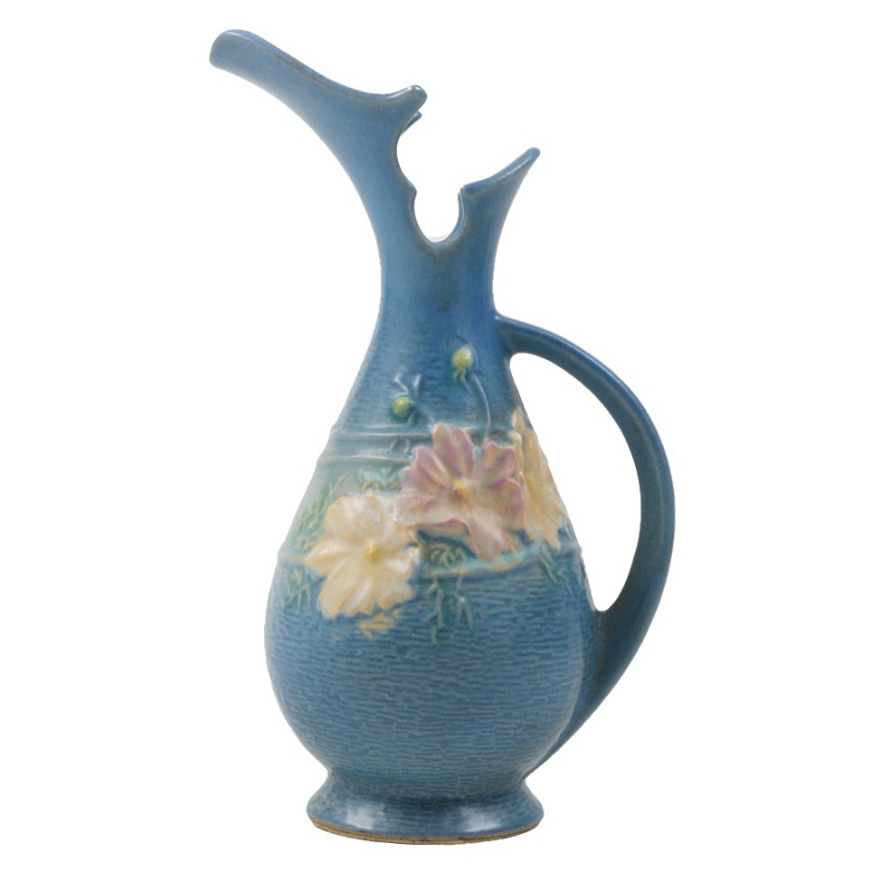 """Roseville Pottery """"Cosmos"""" Blue Ewer"""