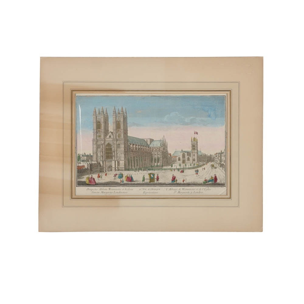 """Hand-Colored Engraving on Laid Paper """"L'Abbaye de Westminster..."""""""