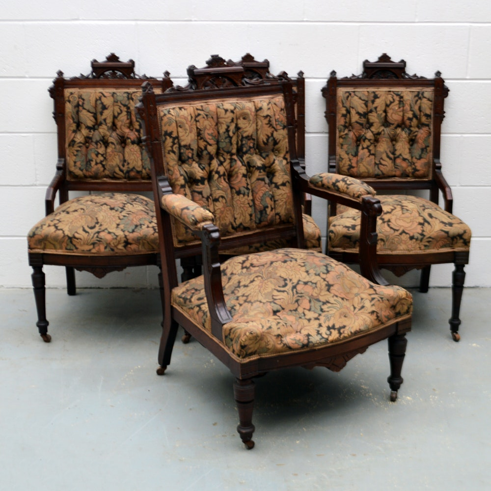 Four Antique American Eastlake Walnut Chairs