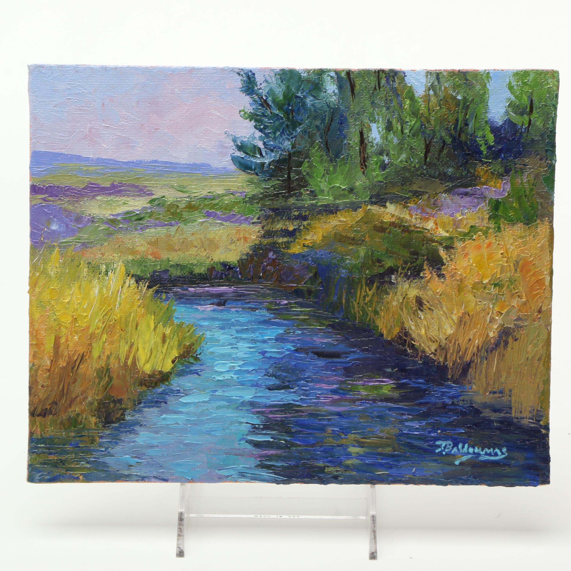 """James Baldoumas 2017 Landscape Oil Painting on Canvas Board """"Slow Moving Stream"""""""