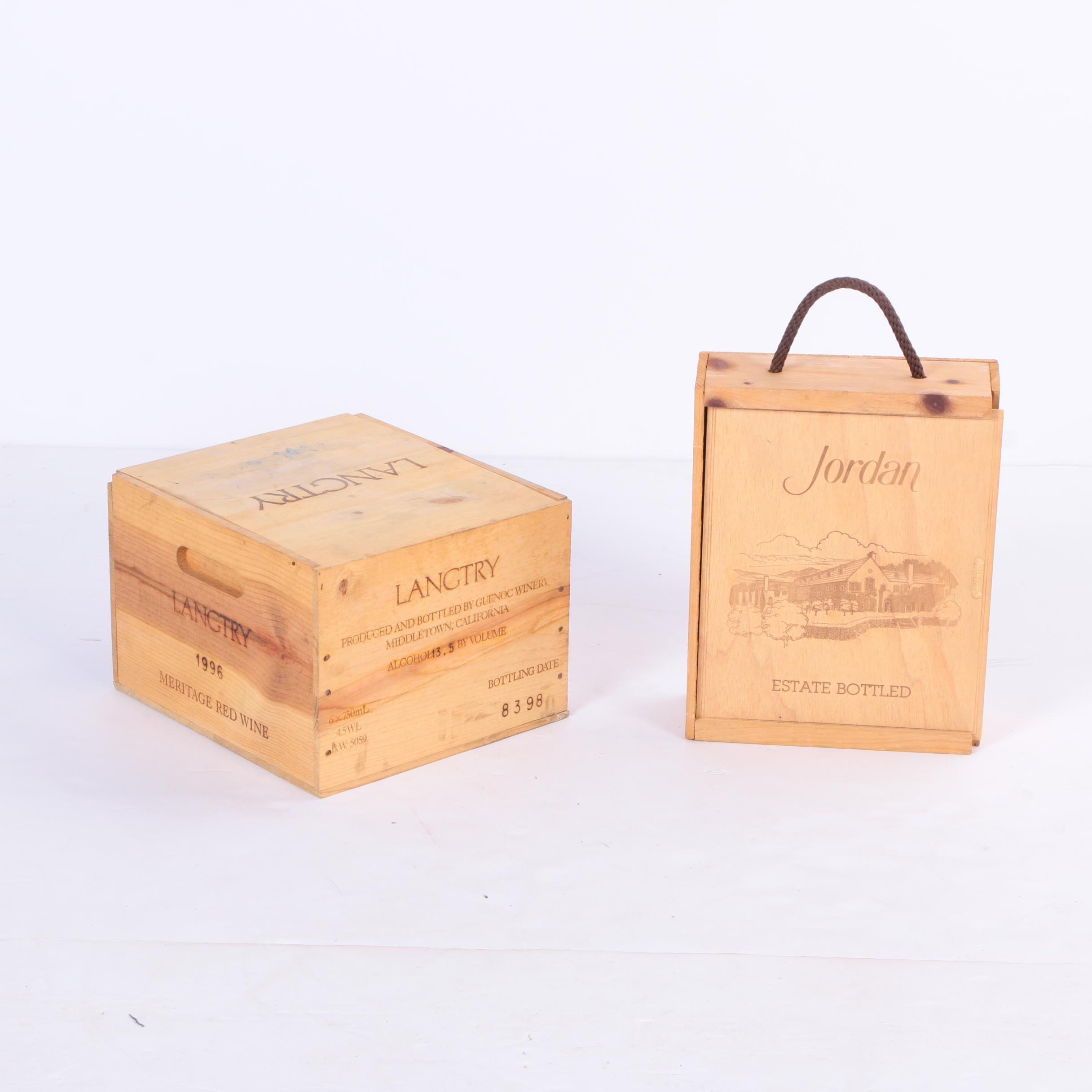Two Jordan and Langtry Wooden Wine Crates