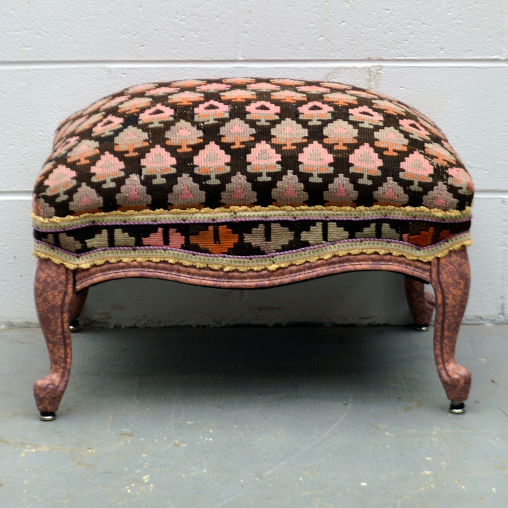 Turkish Kilim Upholstered Queen Anne Style Ottoman