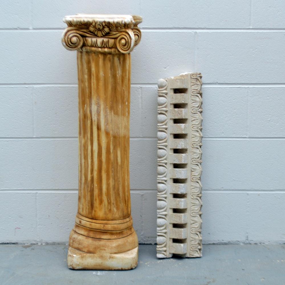 Cast Plaster Decorative Architectural Frieze and Pedestal
