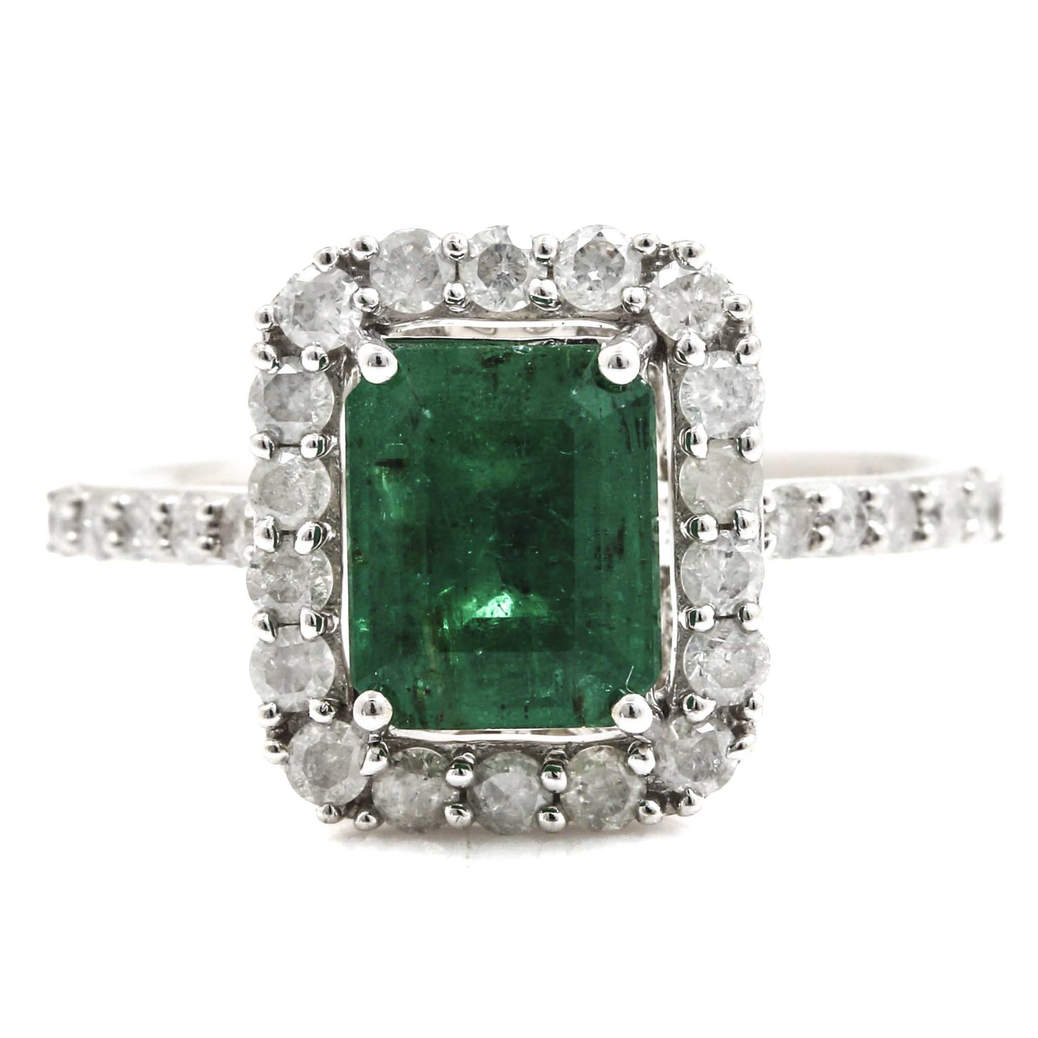 14K White Gold Diamond and 1.54 CT Emerald Ring