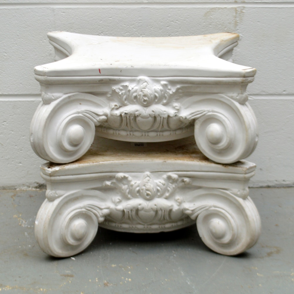 Pair of Cast Cement Pedestal Bases