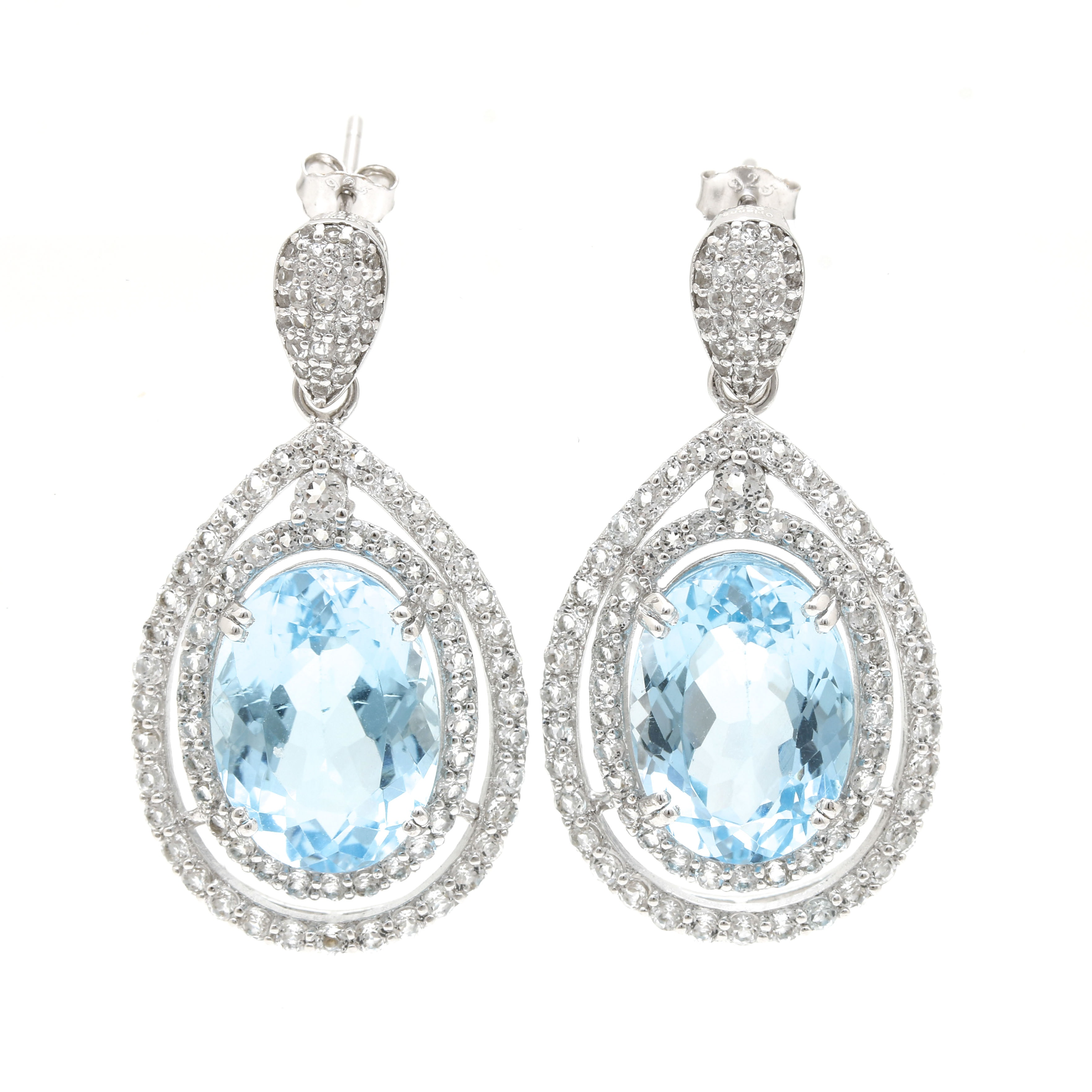 Sterling Silver Blue Topaz and White Topaz Earrings