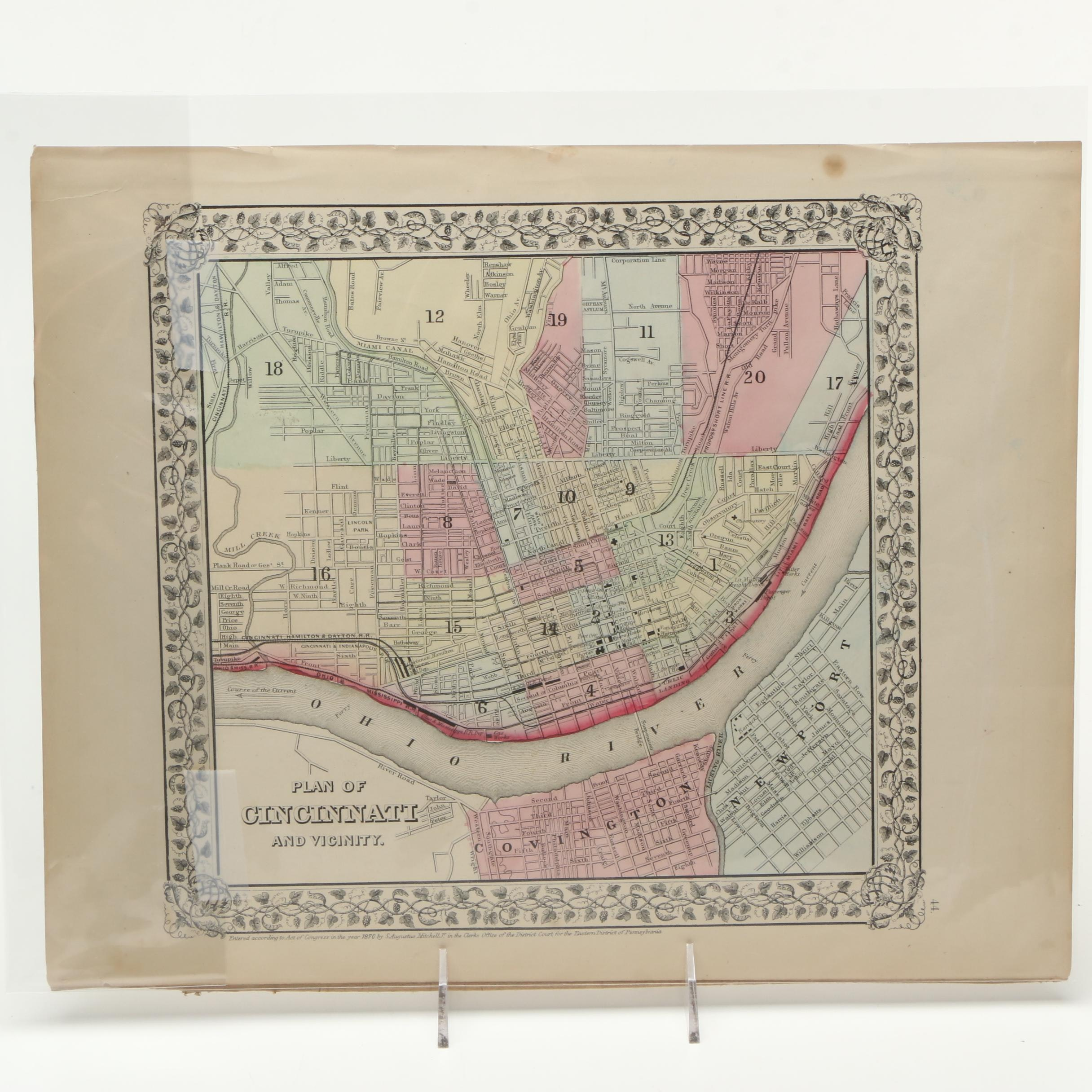 "S. Augustus Mitchell Jr. 1870s Lithograph Map ""Plan of Cincinnati and Vicinity"""