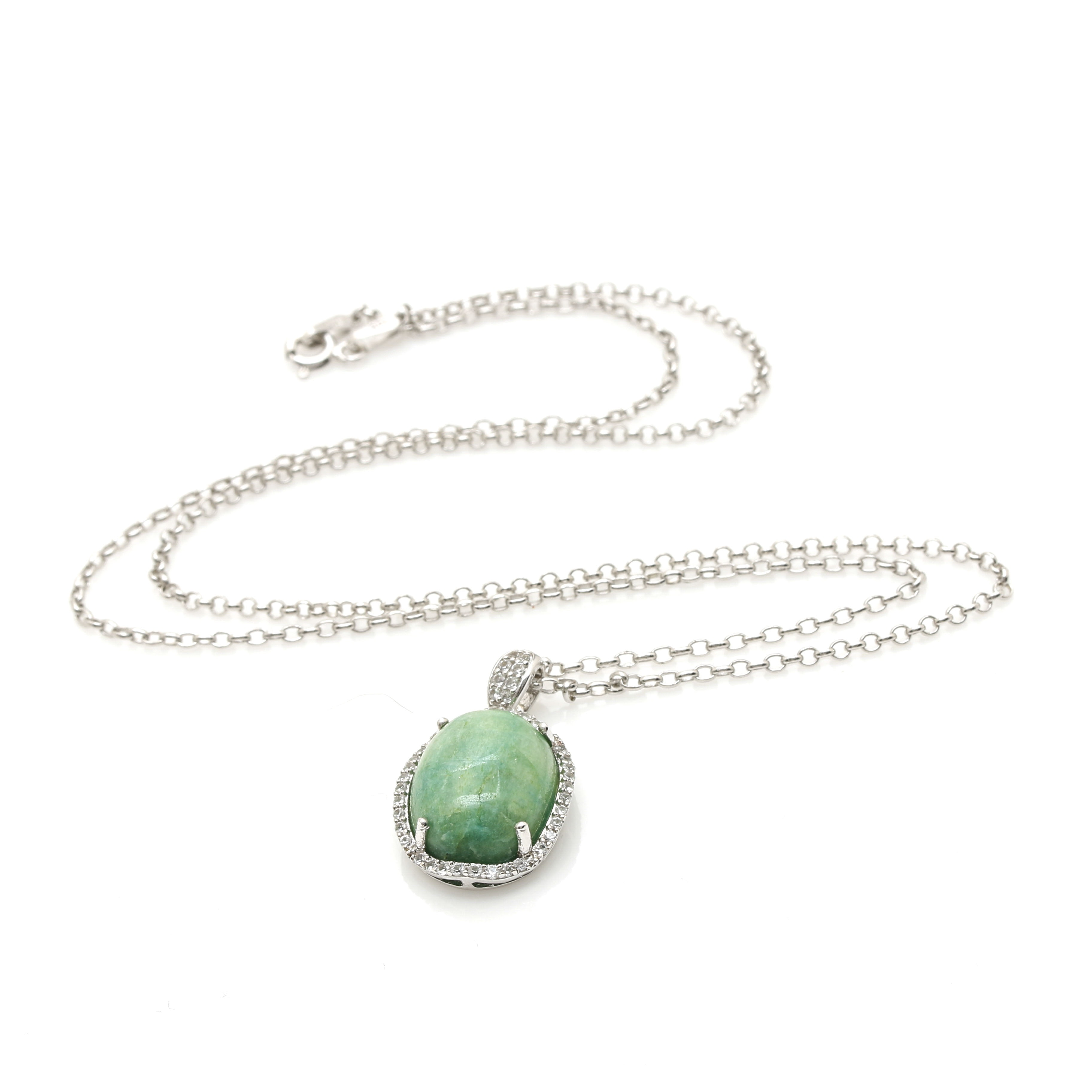 Sterling Silver Emerald and White Sapphire Necklace