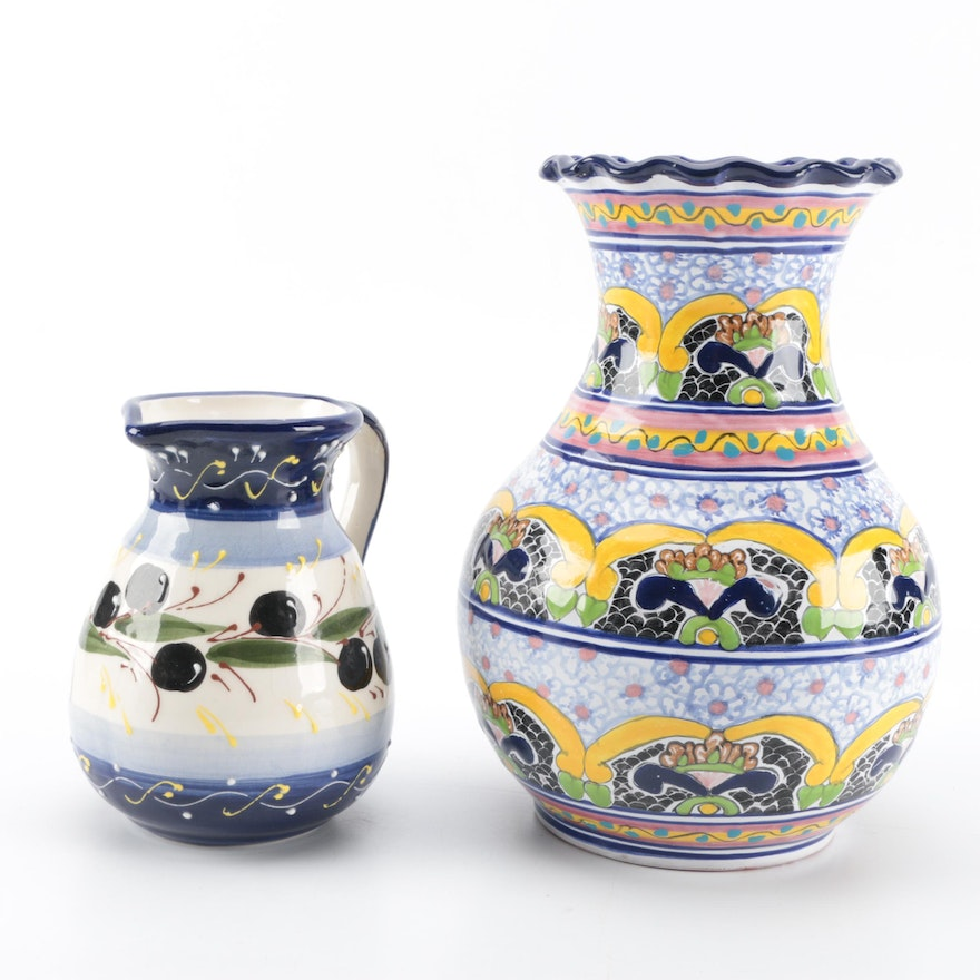 Hand Painted Mexican And Spanish Ceramic Vase And Pitcher Ebth