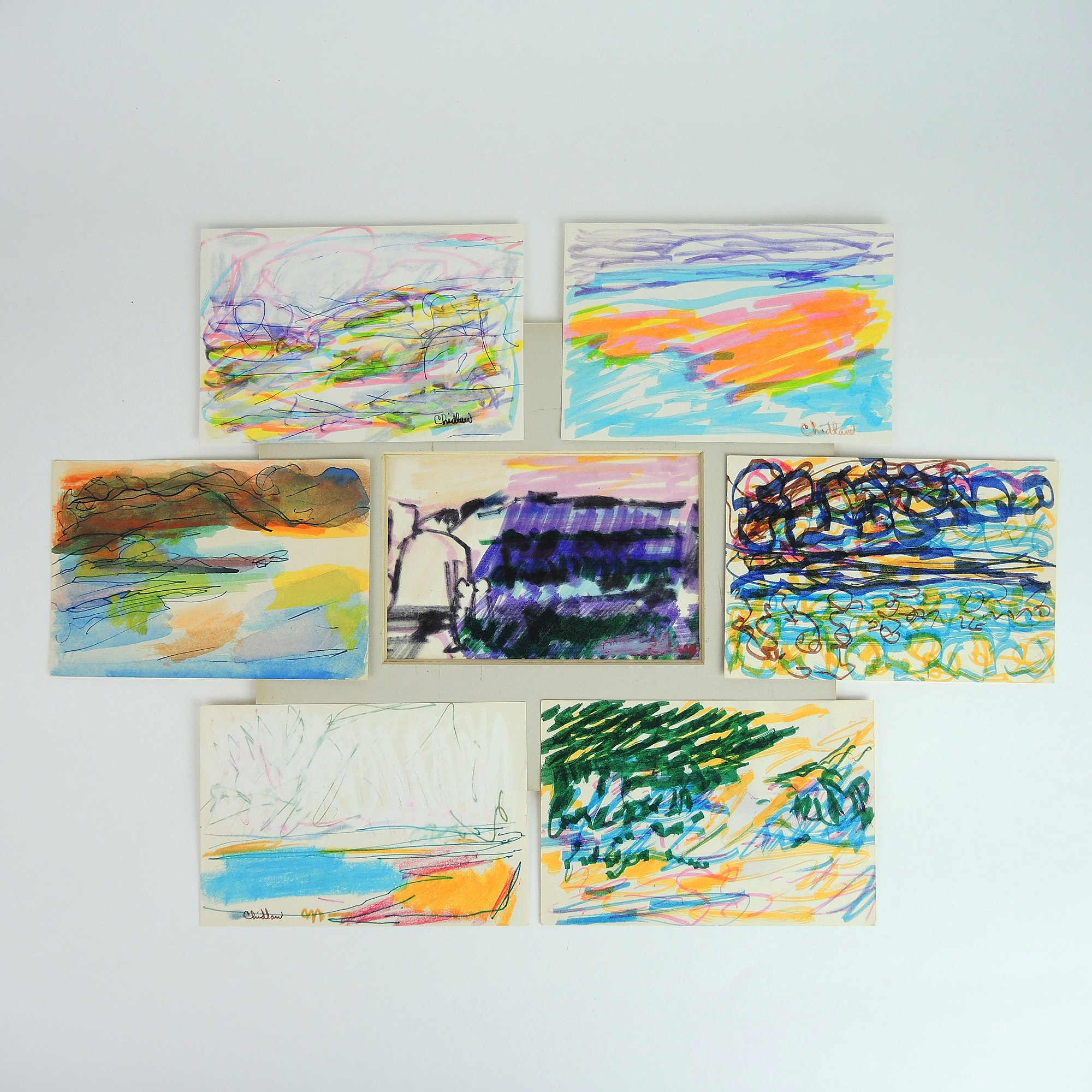 Paul Chidlaw Mixed Media Paintings on Paper Collection of Abstract Expressionism