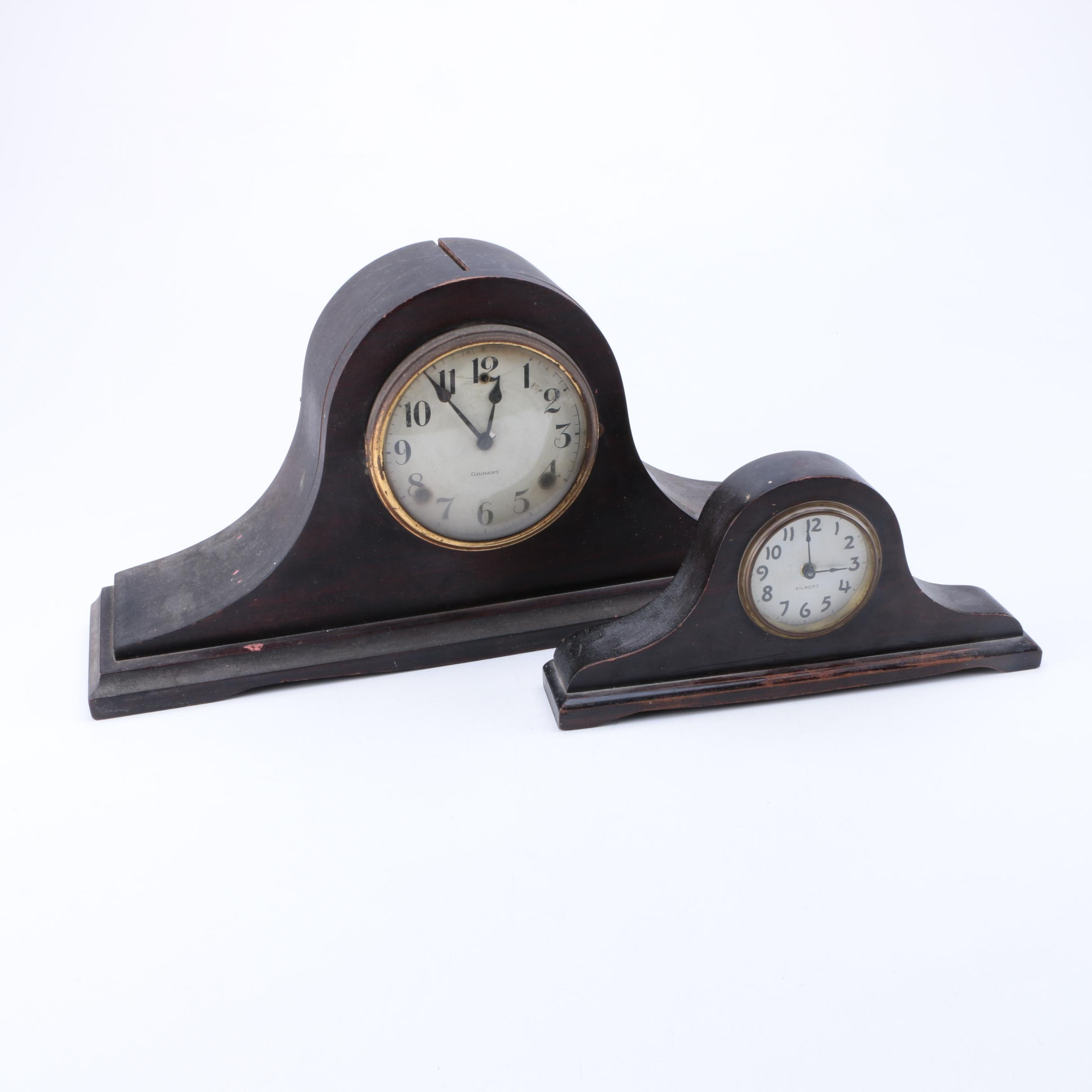 Pair of Gilbert Vintage Mantel Clocks