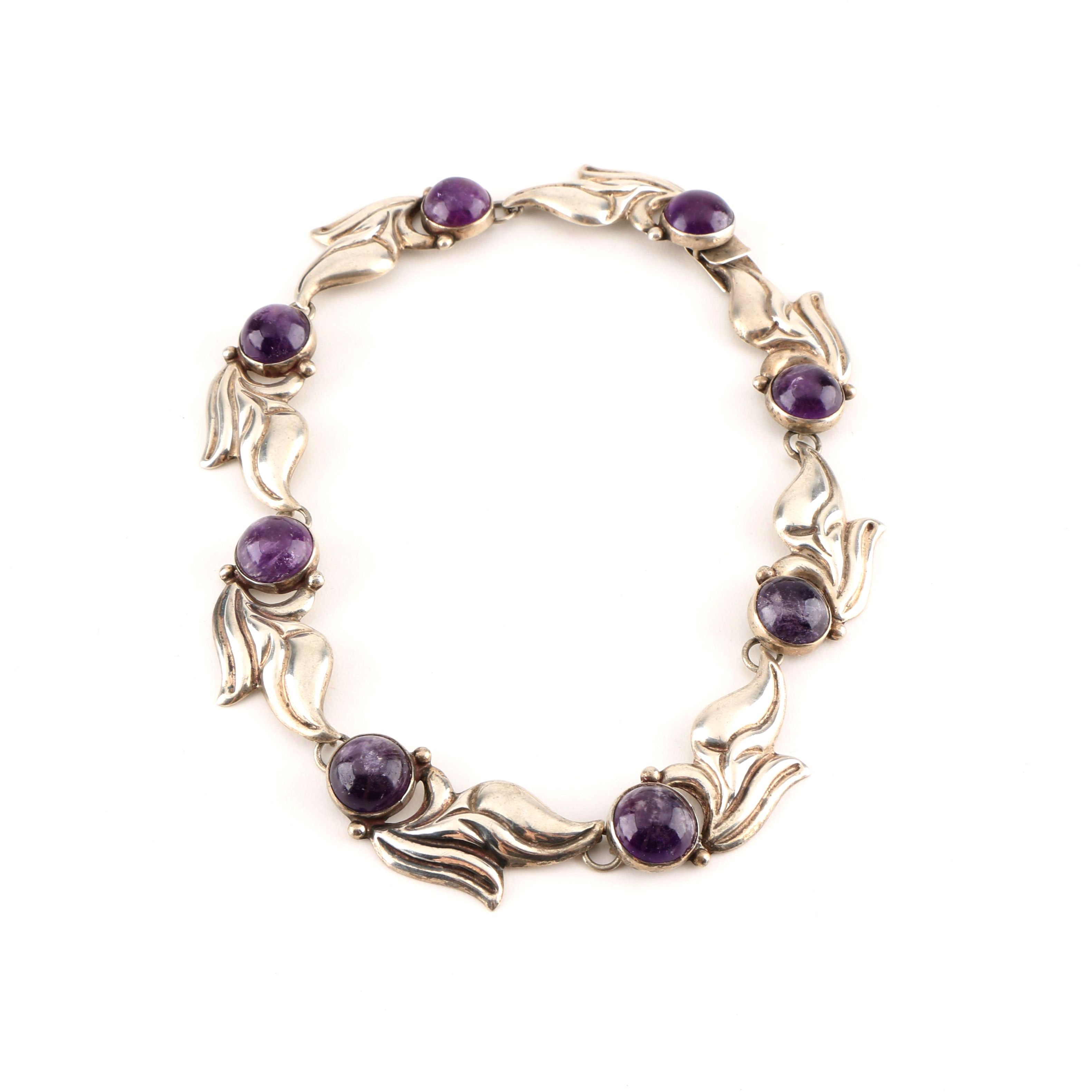 Jose Anton Sterling Silver Amethyst Necklace