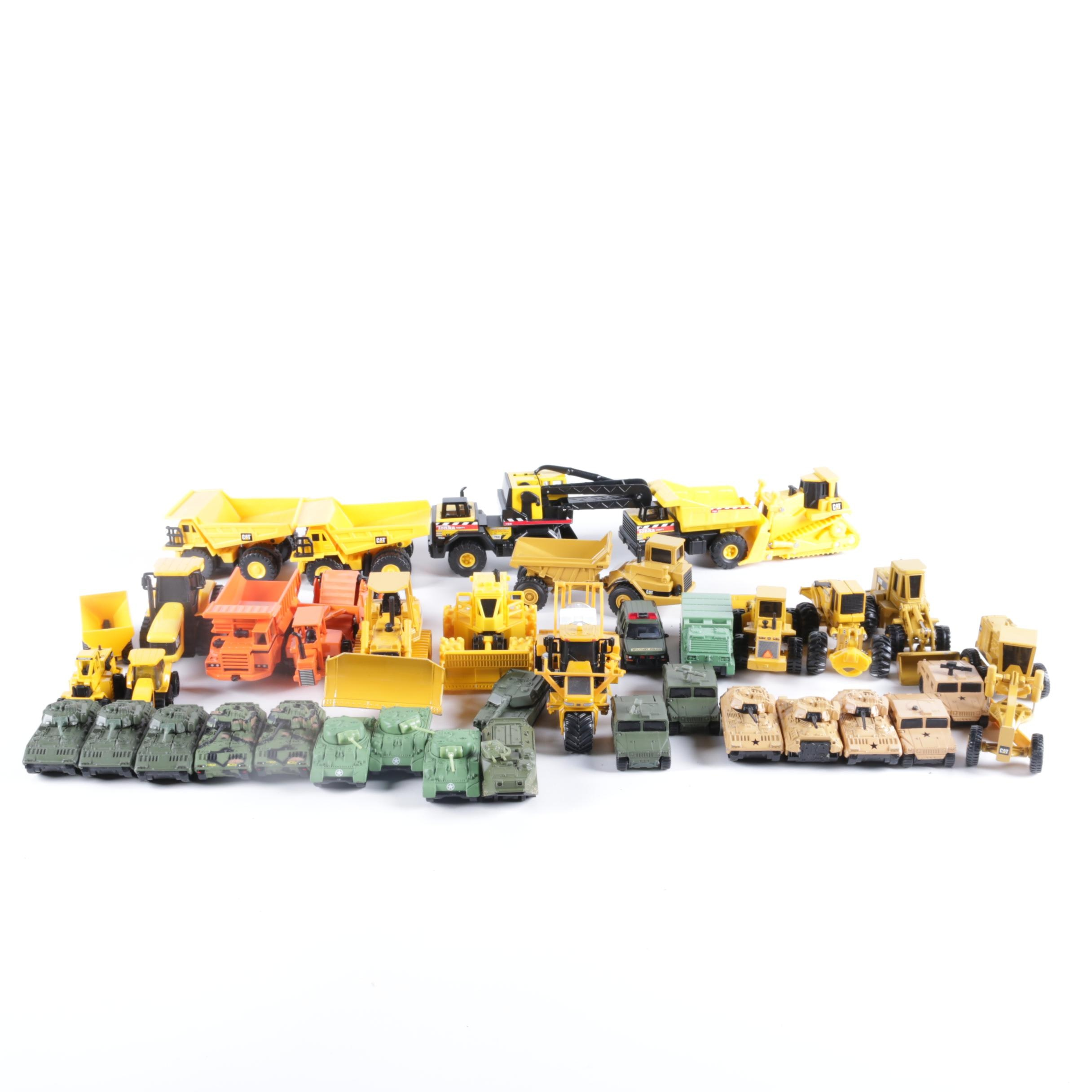 Assortment of Die-Cast Military and Construction Vehicles