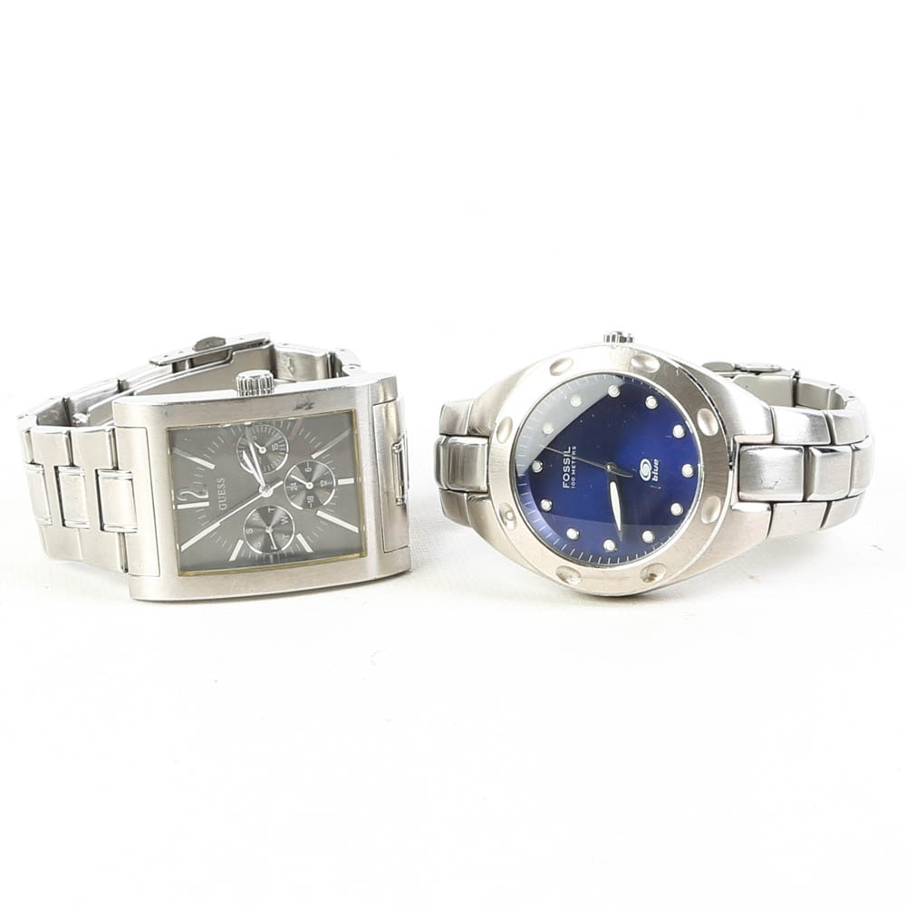 Stainless Steel Wristwatches Featuring Fossil and Guess