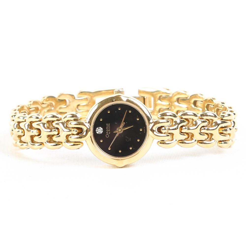 Caravelle by Bulova Diamond Accent Gold Tone Wristwatch