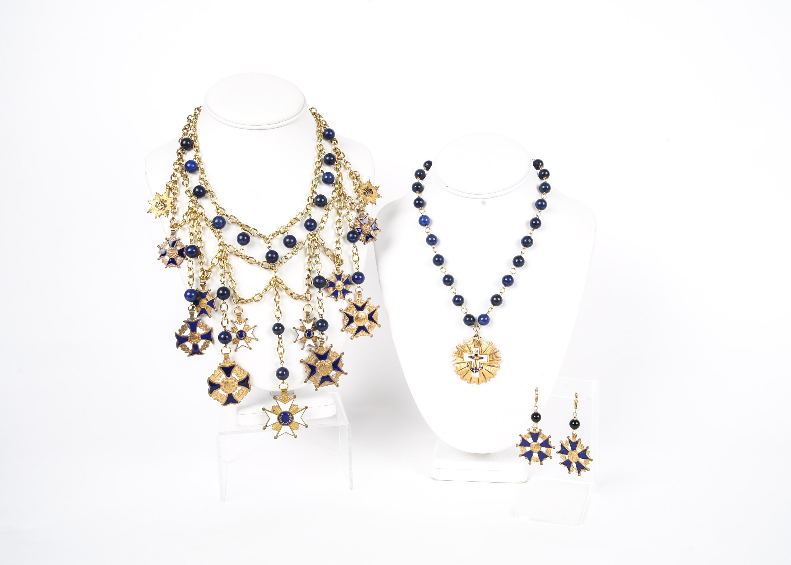 Medallion and Lapis Lazuli Necklaces and Earrings